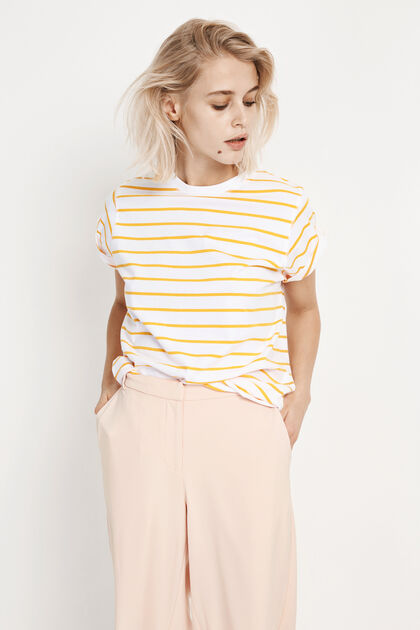 ENANDY TEE STRIPE 5915, YELLOW-WHITE STRIPE
