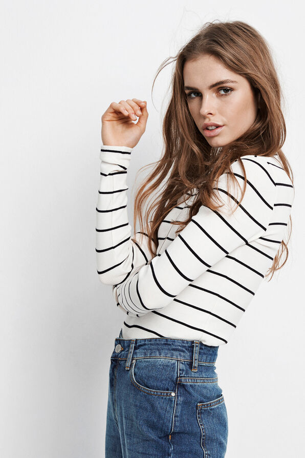 ALLY LS ZIP TEE STRIPE 5892, CREAM-BLACK STRIPE