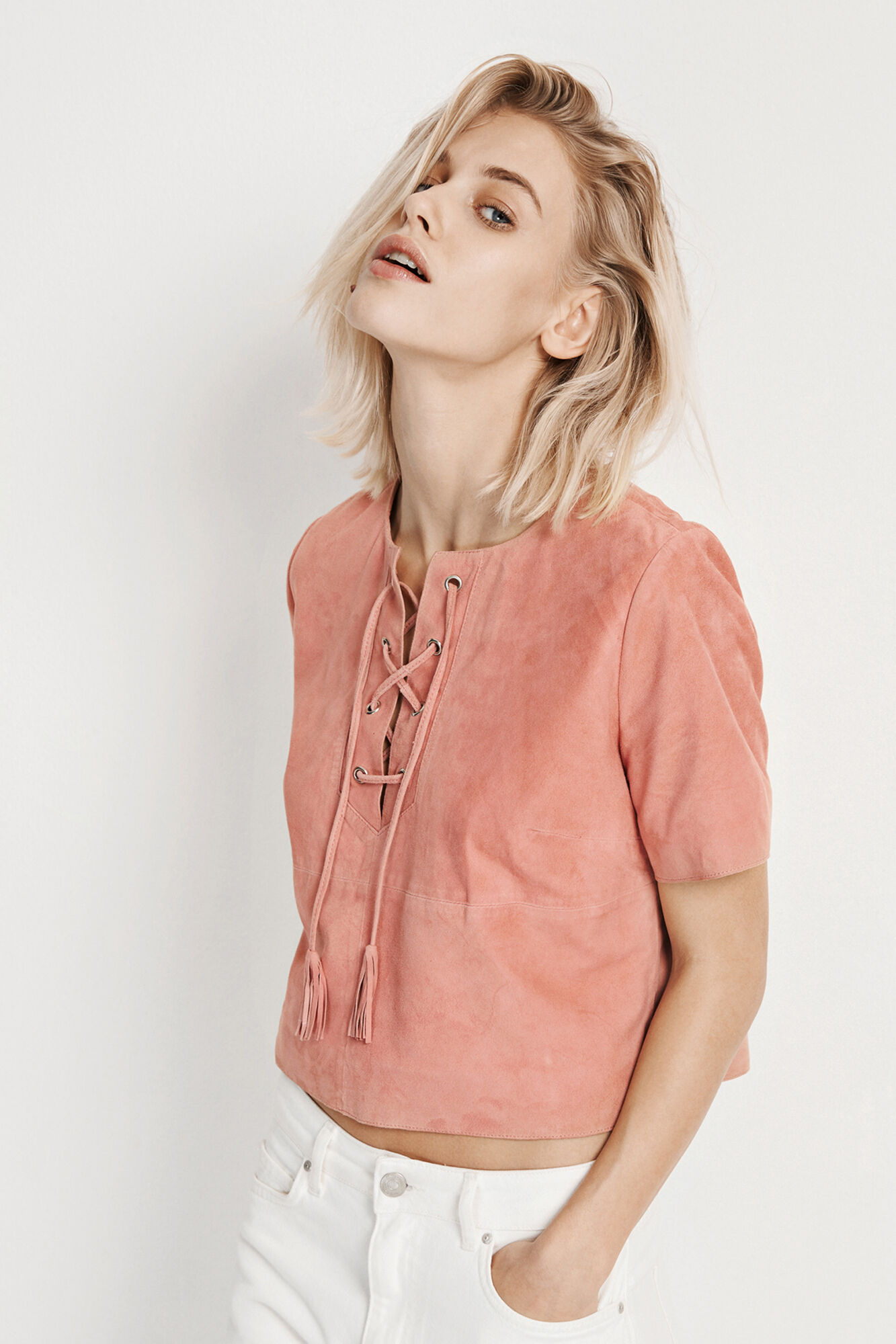 ENRODEO SS SUEDE TOP 6335, ROSEMARY LIP