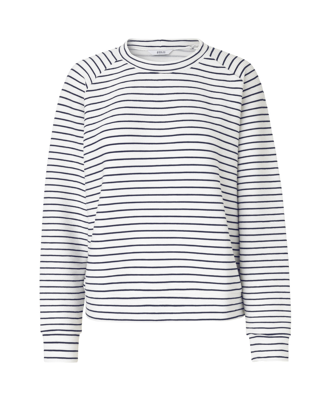ENNANI LS SWEAT 5921, GARDENIA NAVY STRIPE