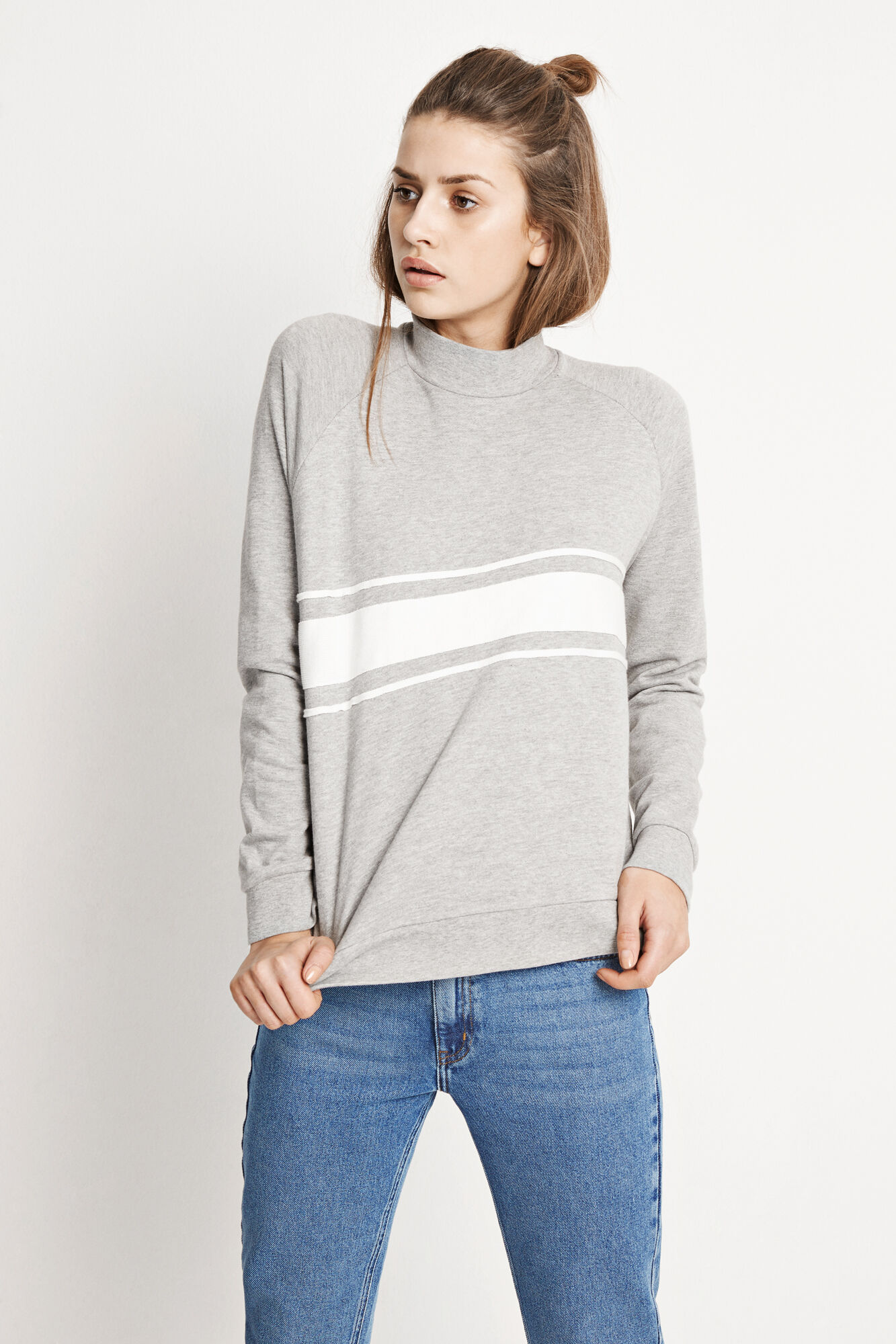 ENMILE LS SWEAT 5913, GREY MEL.