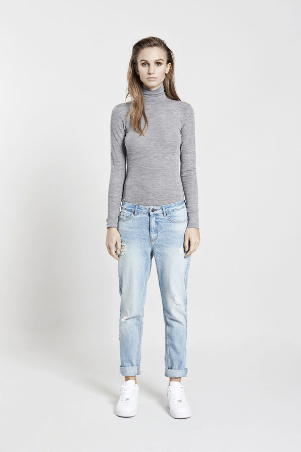 VIV T-NECK WOOL 5838, GREY MEL.