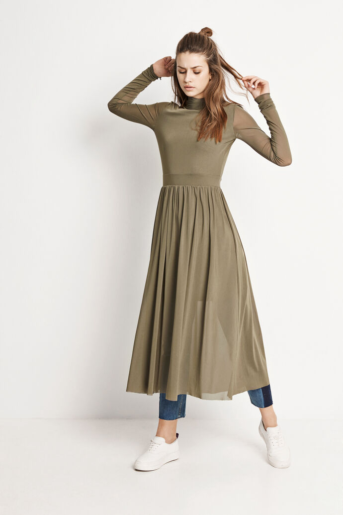 WHEEL LS T-NECK DRESS 5911, DUSTY OLIVE