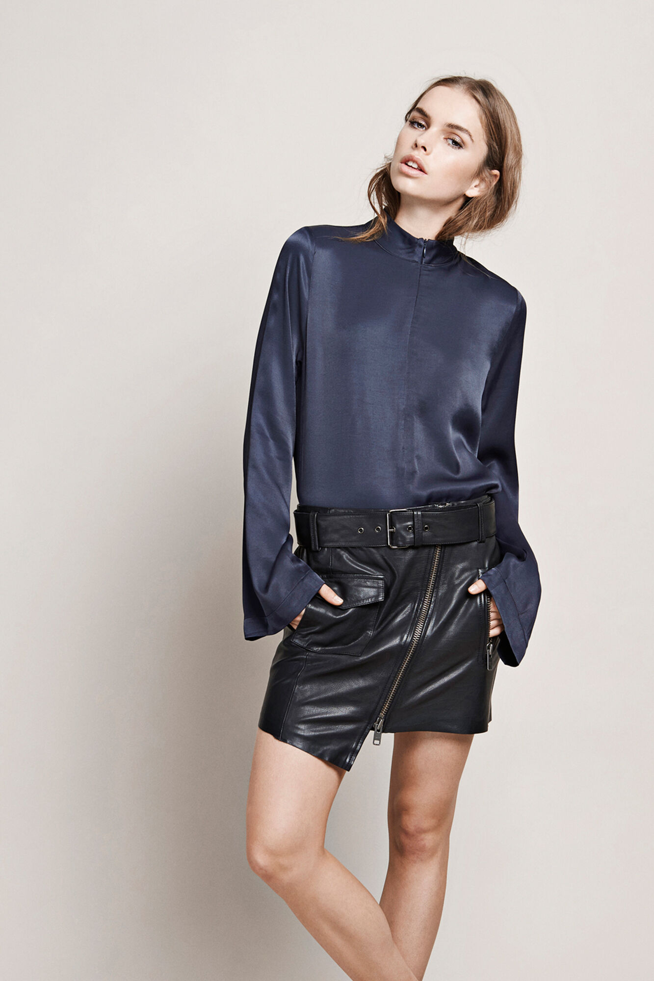 KARLIE LEATHER SKIRT 6178, BLACK