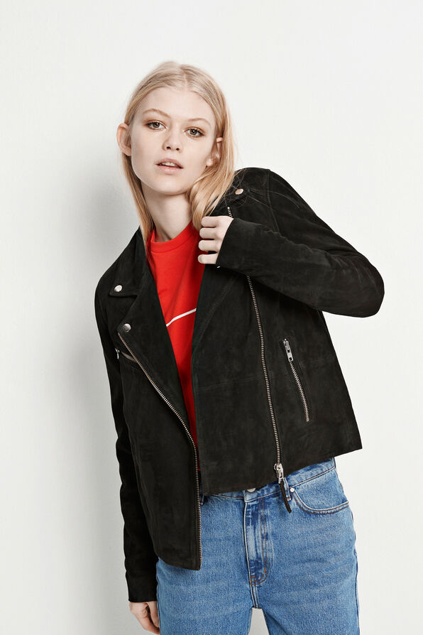 ENTHILDE SUEDE JACKET 6196, BLACK