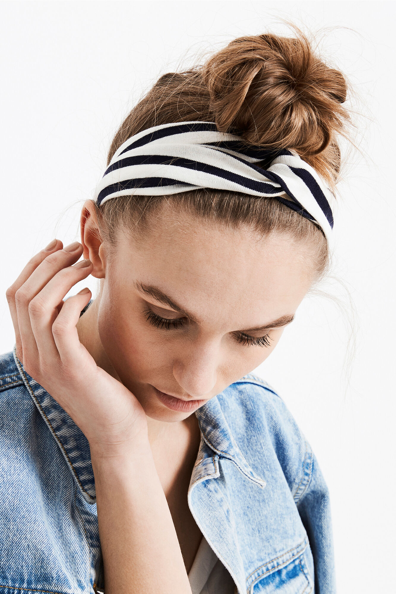 WELLY HEADBAND STRIPE 5843, CREAM-NAVY STRIPE