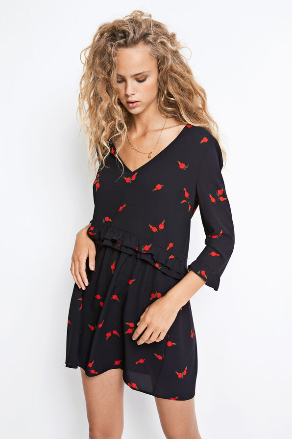 ENFLIRT 3/4 DRESS AOP 6444, ROSEHIP AOP