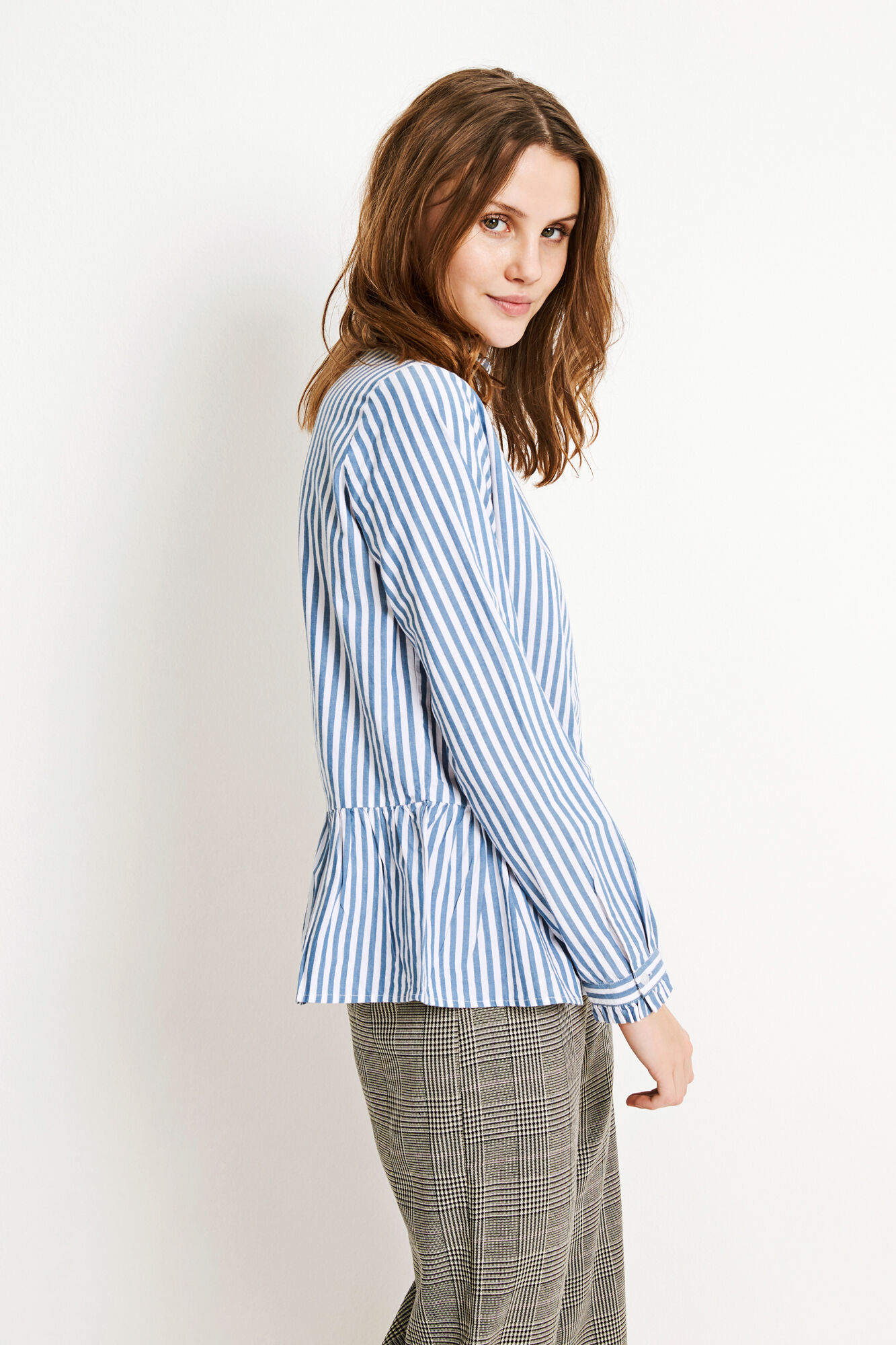 ENFEATHER LS SHIRT 6433, BLUE-WHITE ST