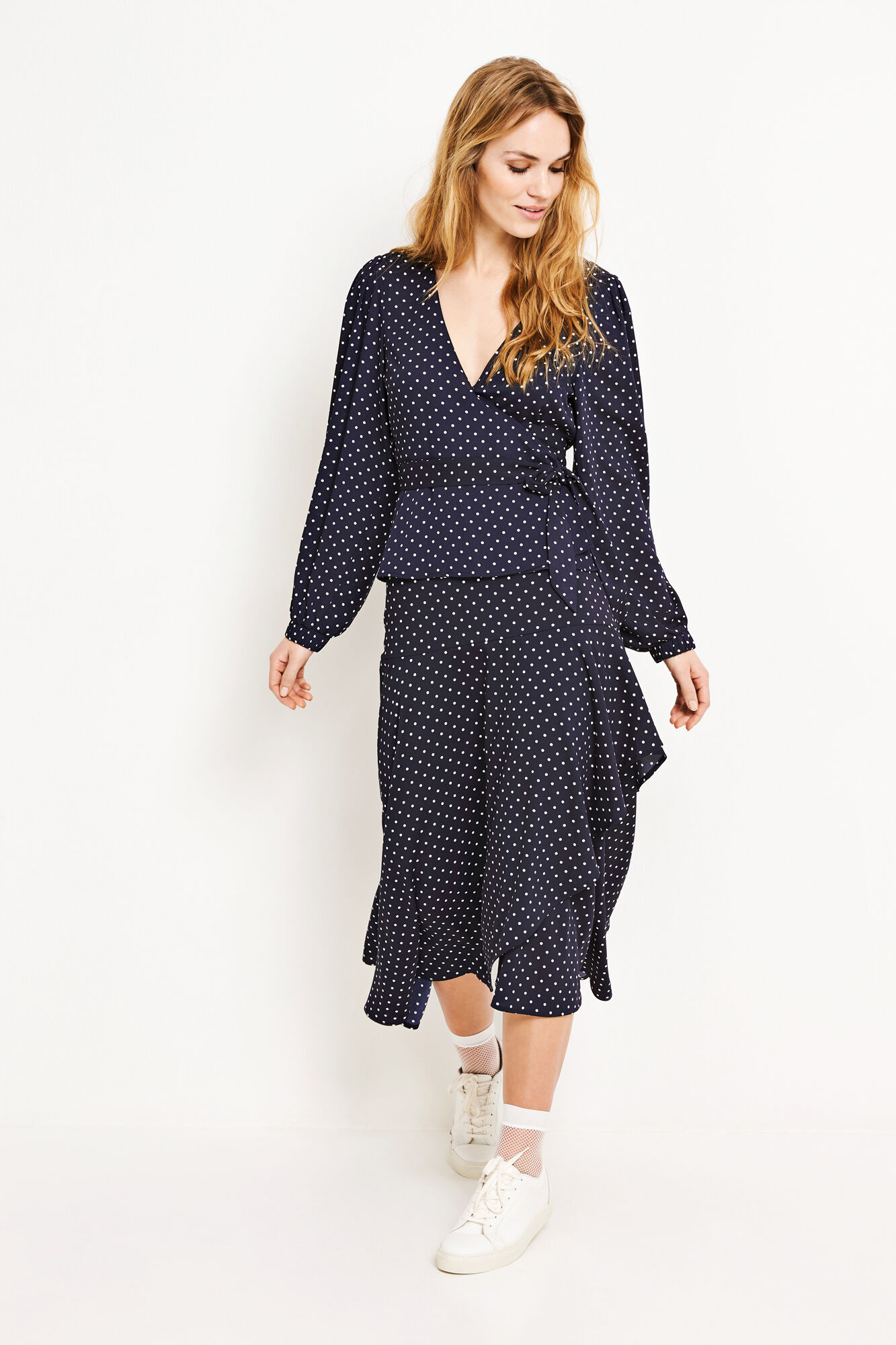 ENGUM LS TOP AOP 6508, NAVY DOT SMALL