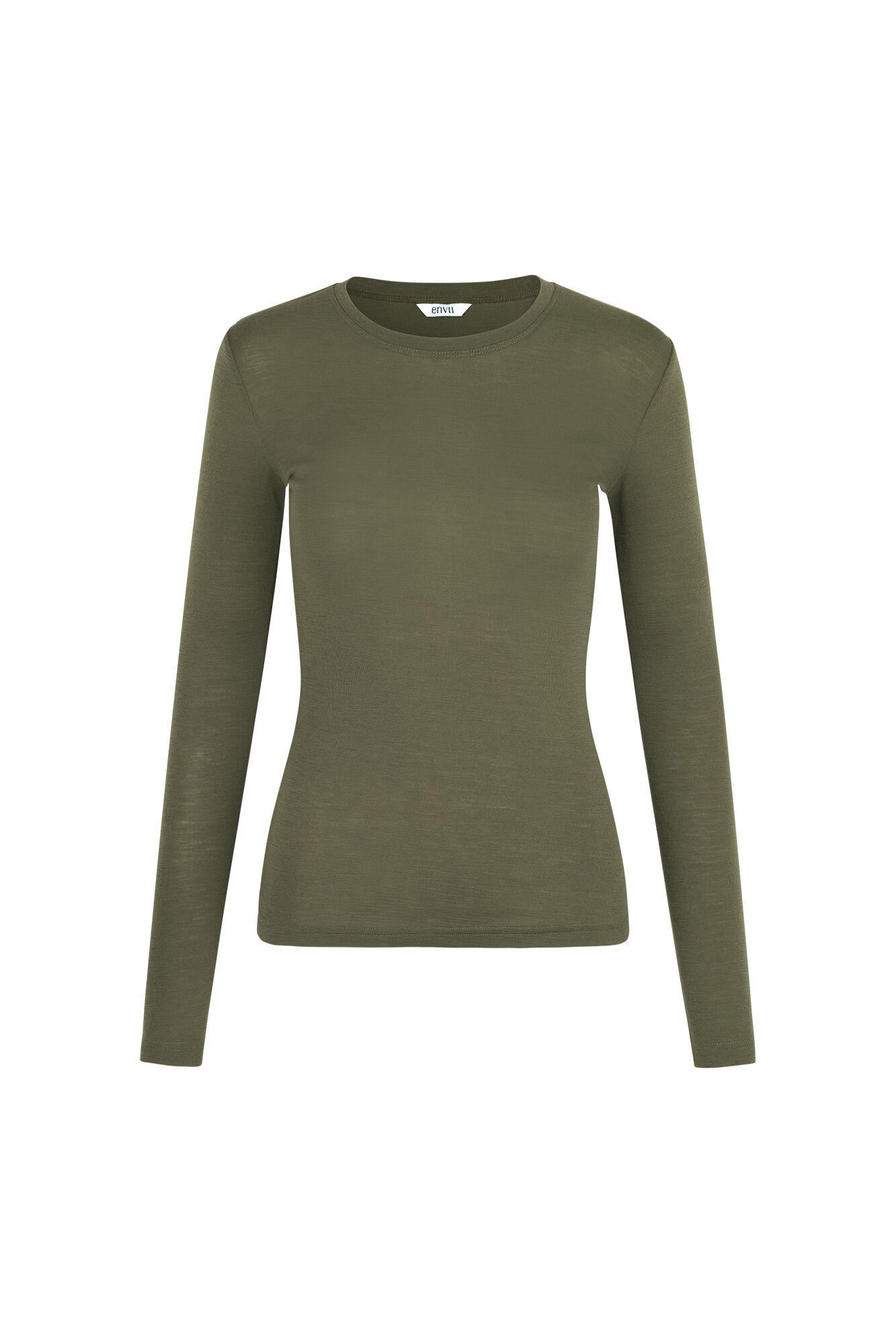 ENVILLY LS O-N TEE 5317, OLIVE NIGHT