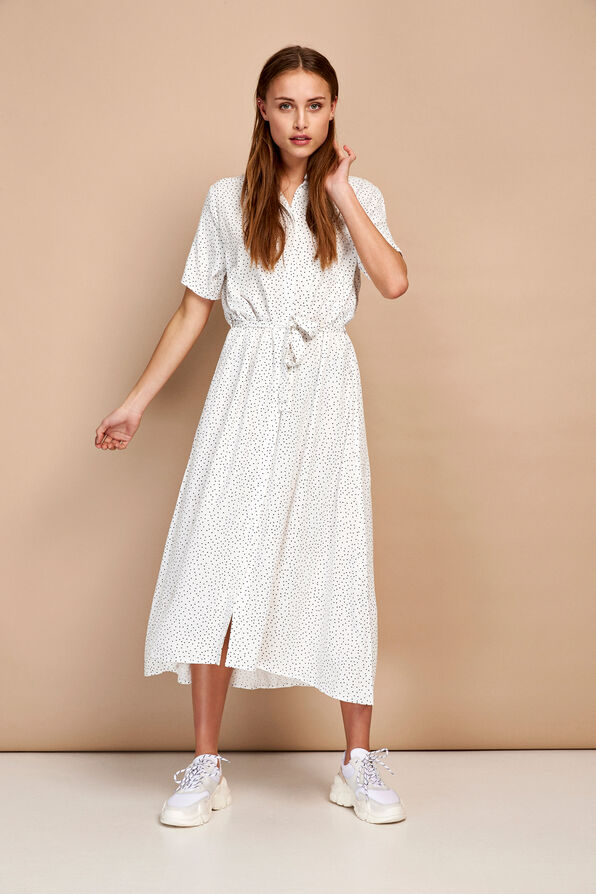 ENTRIBE SS DRESS AOP 6605, CREAM DOT AOP