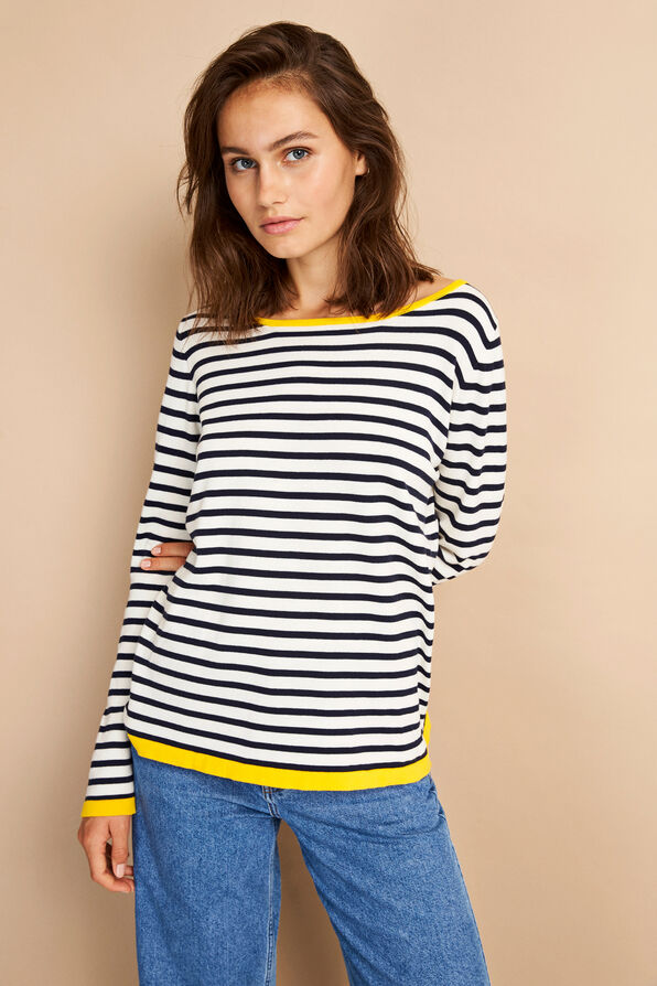 ENNICOSIA CONTRAST KNIT 5073, CLEAR CREAM STRIPE