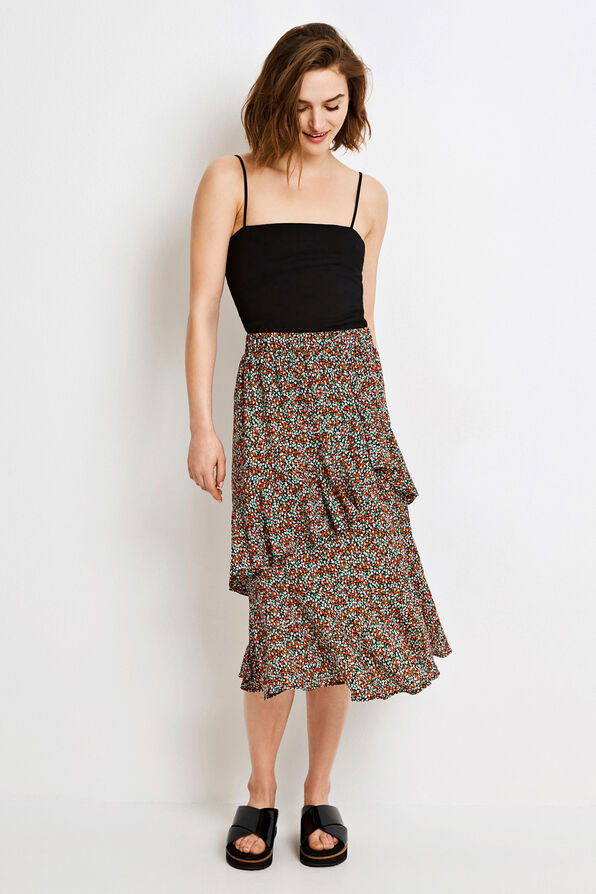 ENHARISSA SKIRT AOP 6465, FLEUR ORANGE AOP