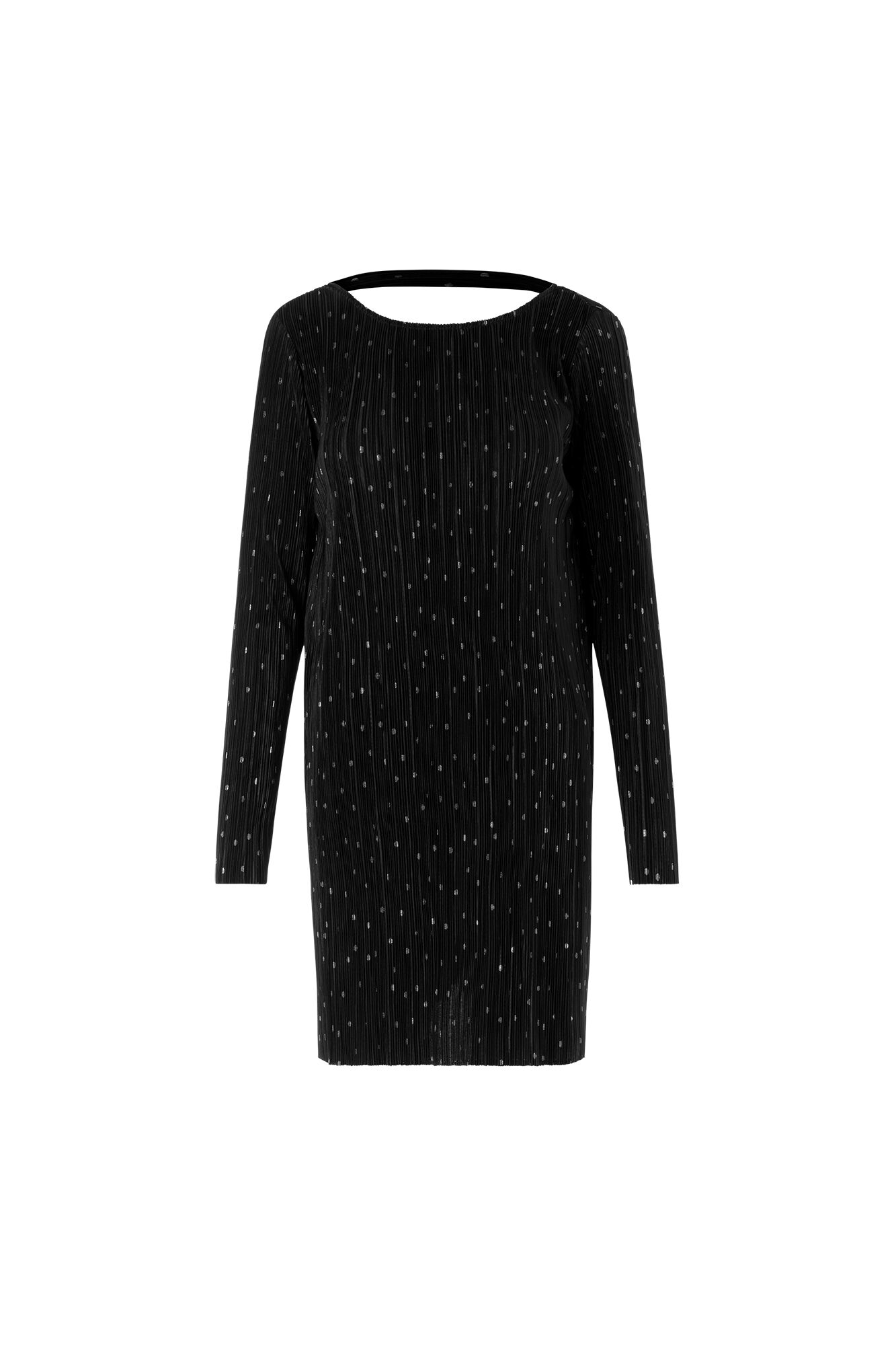 ENDOCK LS DRESS AOP 5942, BLACK SILVER DOT AOP