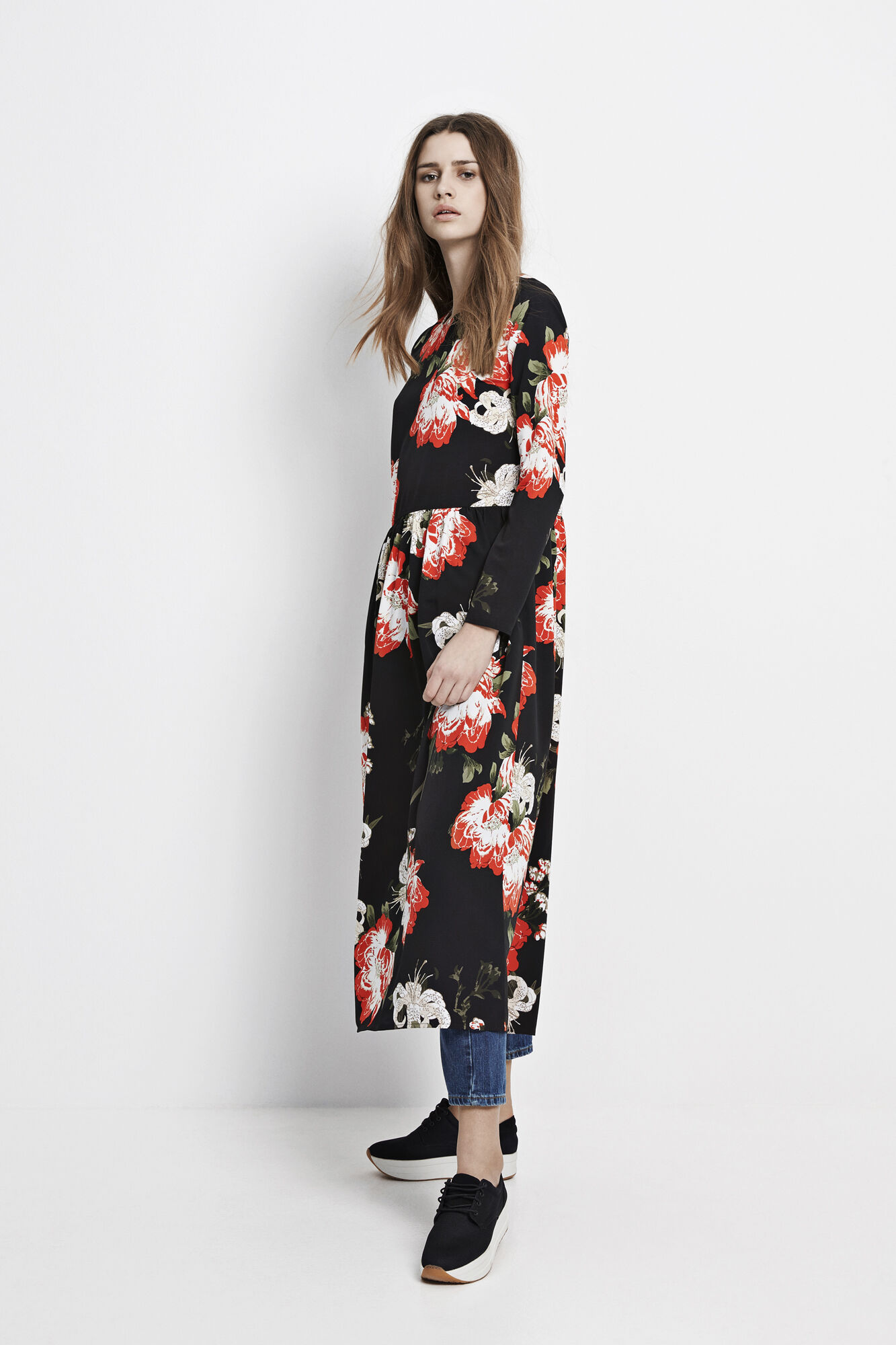 ENMOANA LS MAXI DRESS AOP 6460, PUA DARK AOP