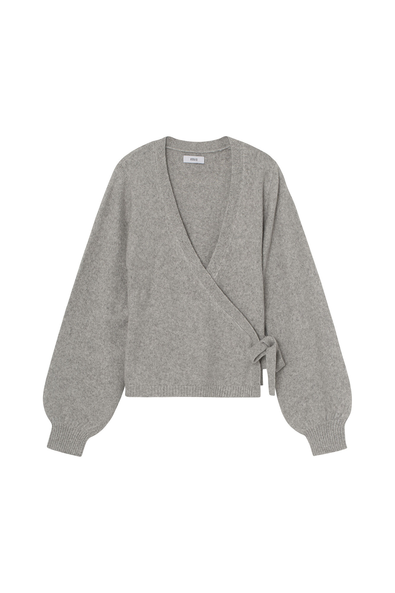 ENSOYA LS V-N KNIT 5231, LIGHT GREY MEL.