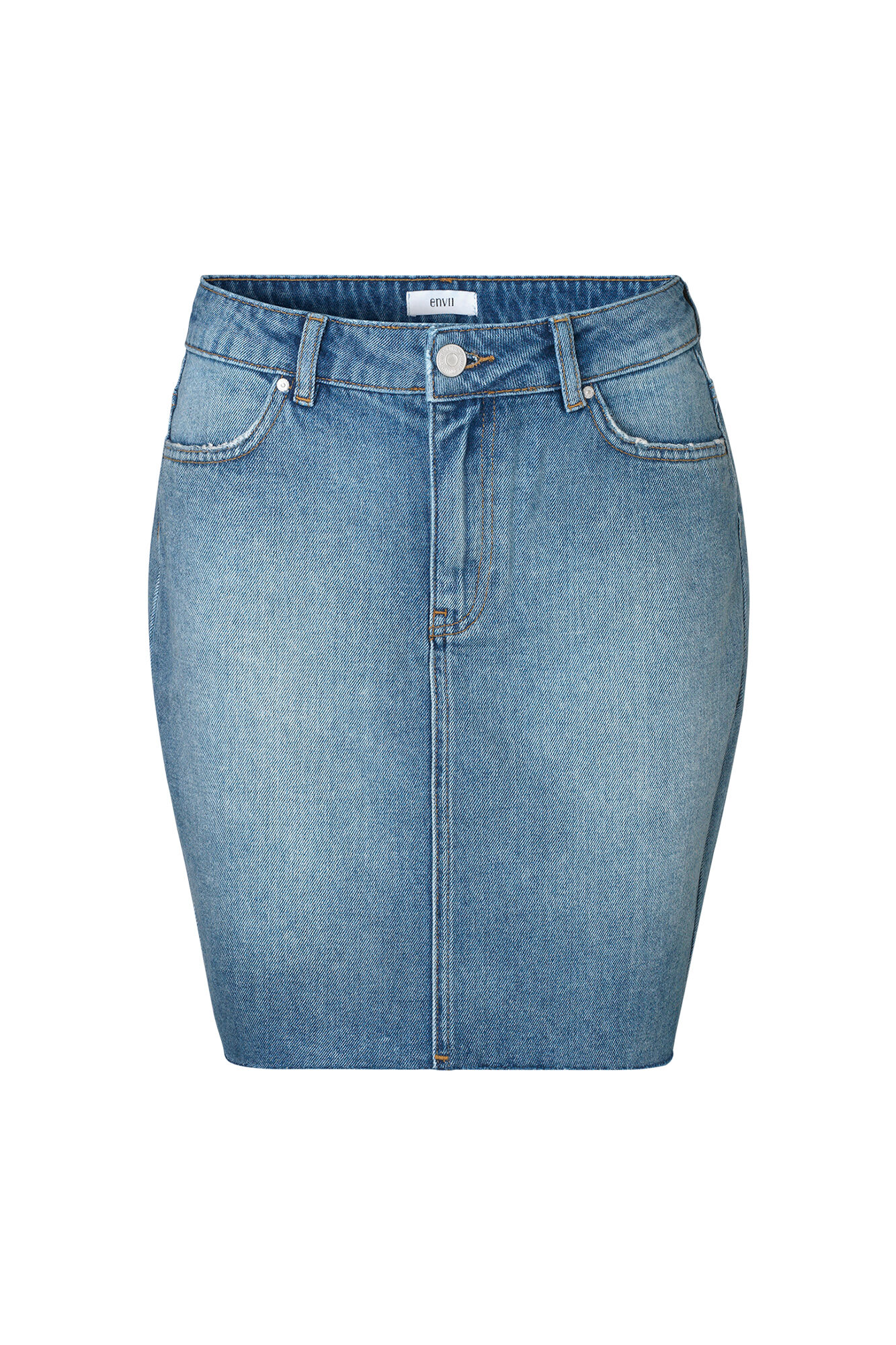 ENSETTLER DENIM SKIRT 6463, WORN BLUE
