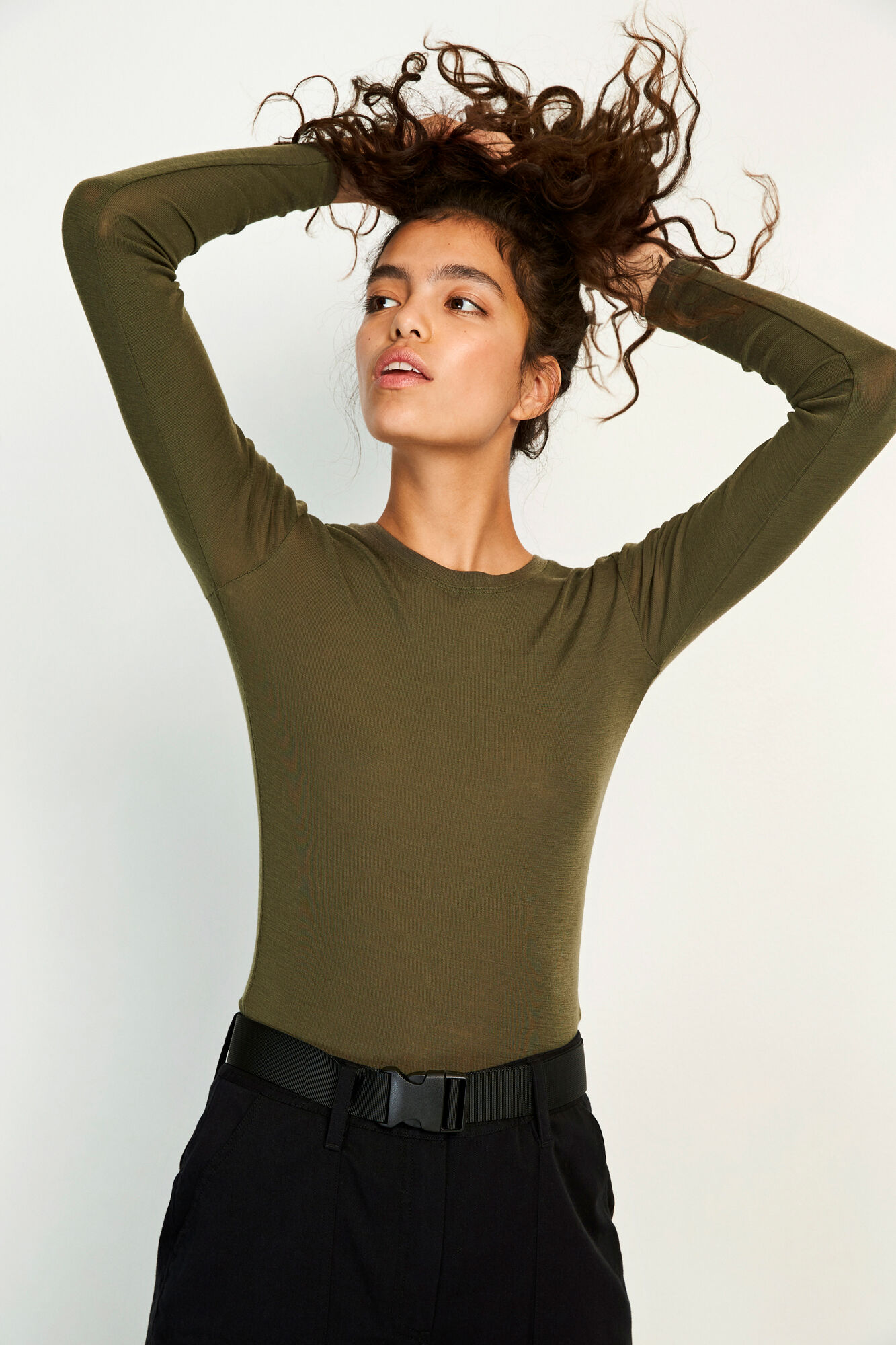 ENVILLY LS O-NECK TEE 5317, OLIVE NIGHT