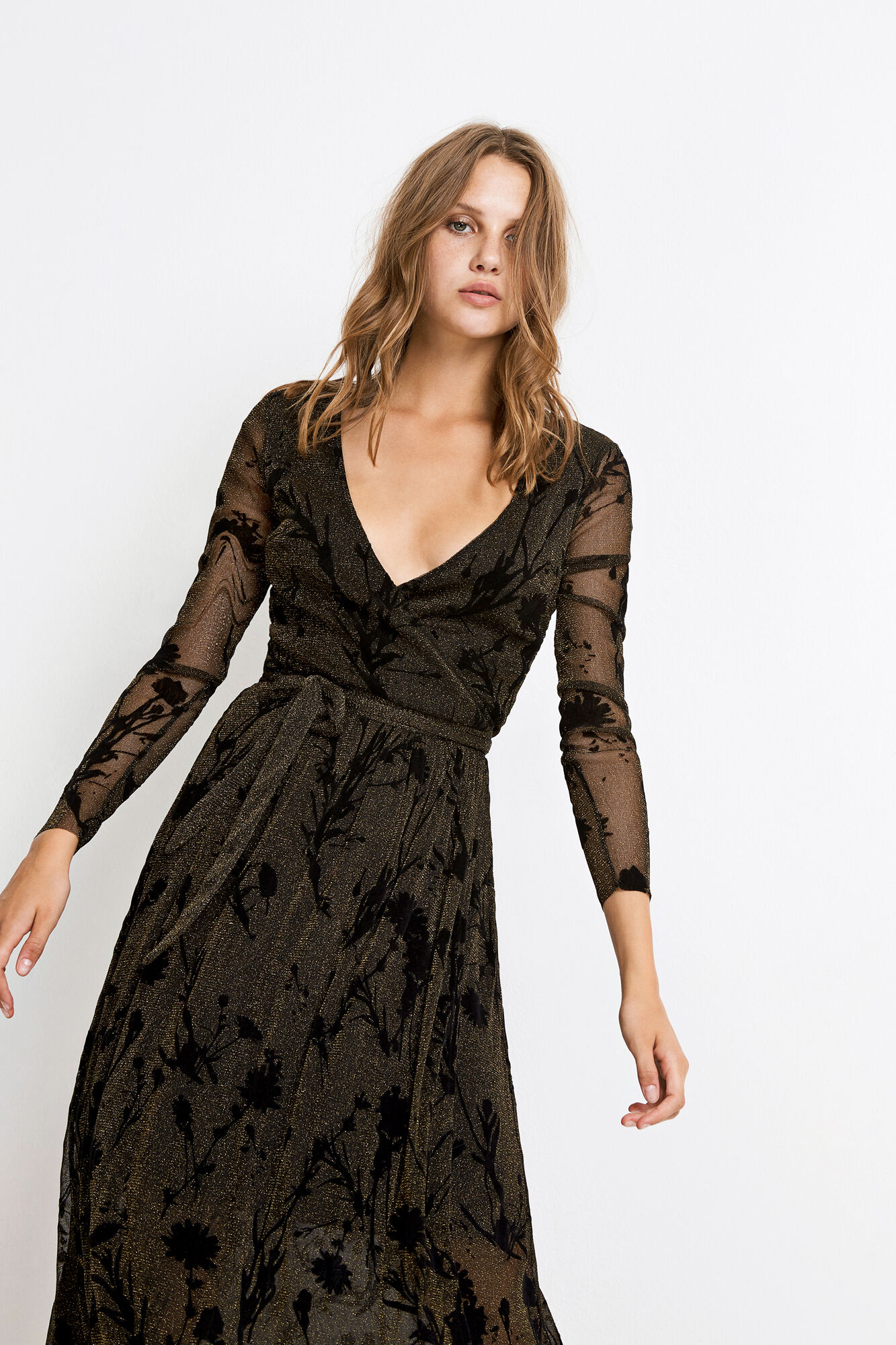 ENPATROL LS V-N DRESS AOP 5944, BLACK MEADOW