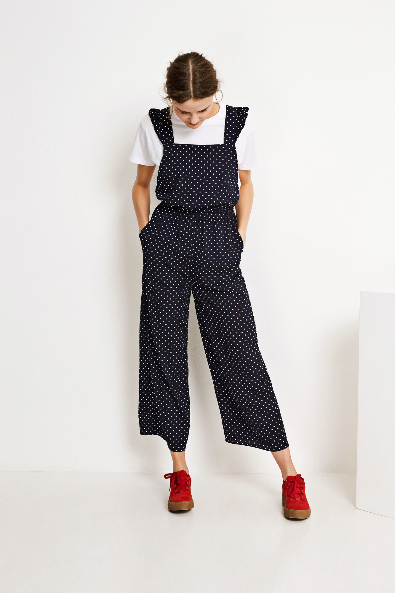 ENGUM SL JUMPSUIT AOP 6508, NAVY DOT SMALL