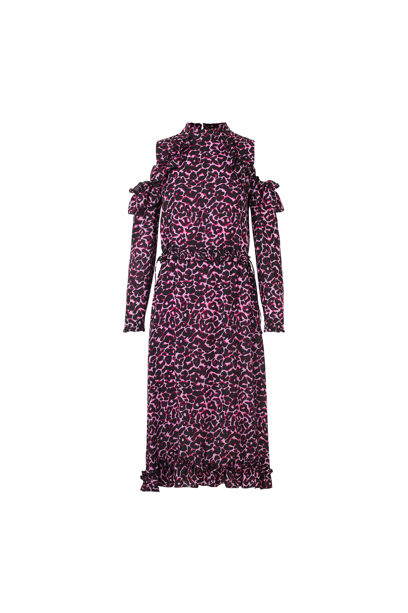 ENPLANET LS DRESS AOP 6465, PINK-BLACK LEO
