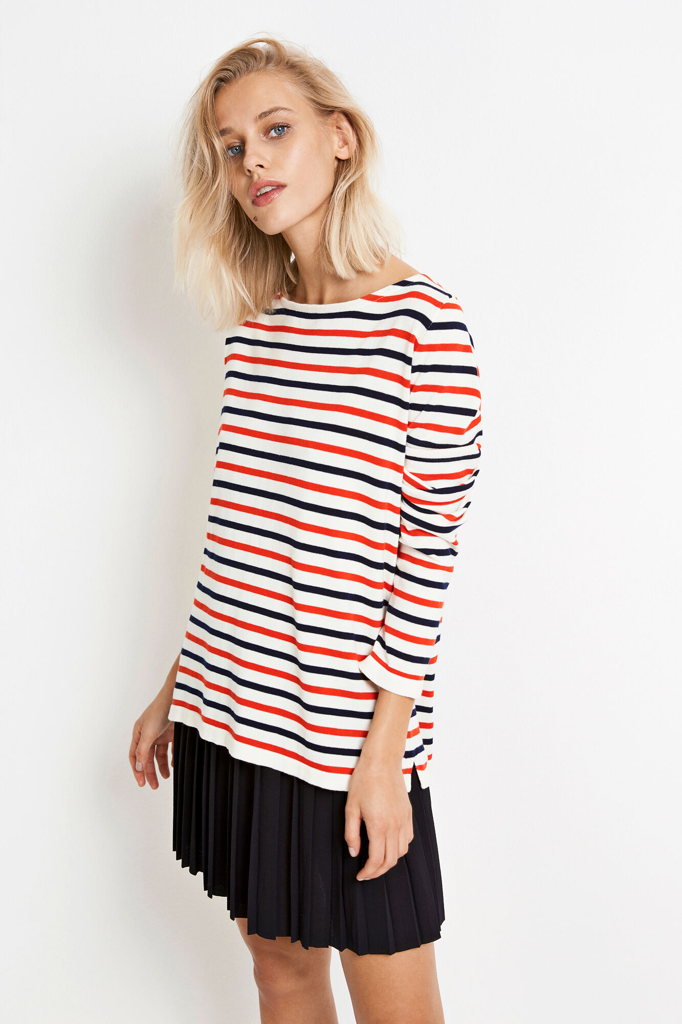 ENNICOSIA KNIT 5073, NAVY-RED STRIPE