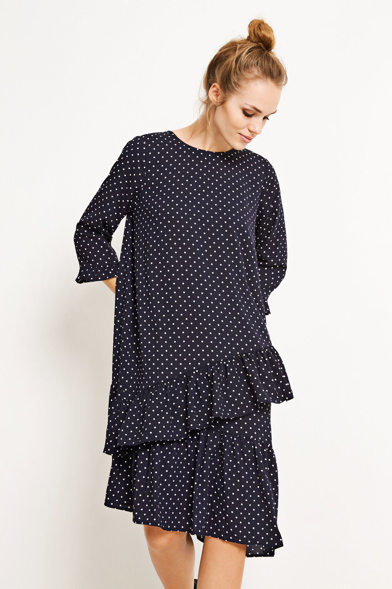 ENGUM 3/4 DRESS AOP 6508, NAVY DOT SMALL