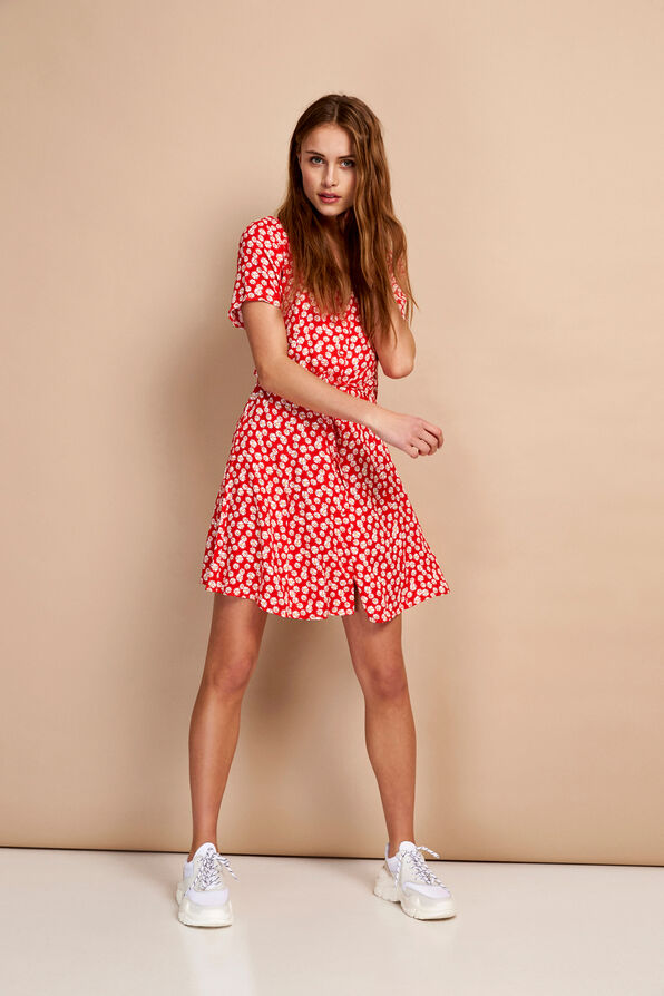 ENFAIRFAX SS DRESS AOP 6546, RED DAISY AOP