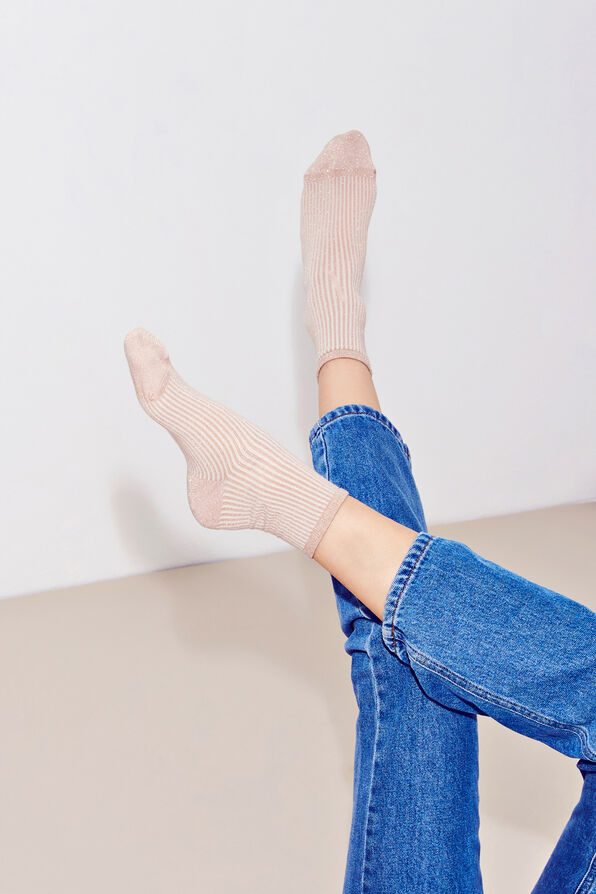 ENLIVA STRIPED SOCKS 5615, BEIGE BLUSH