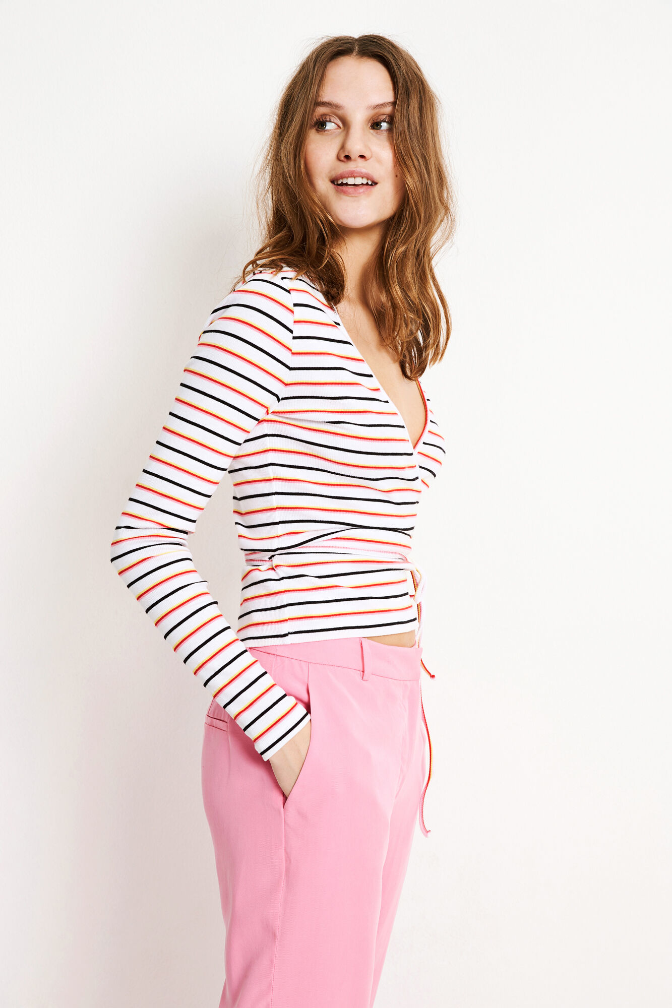 ENALLY LS V-N TEE MULTI 5892, MULTI STRIPE