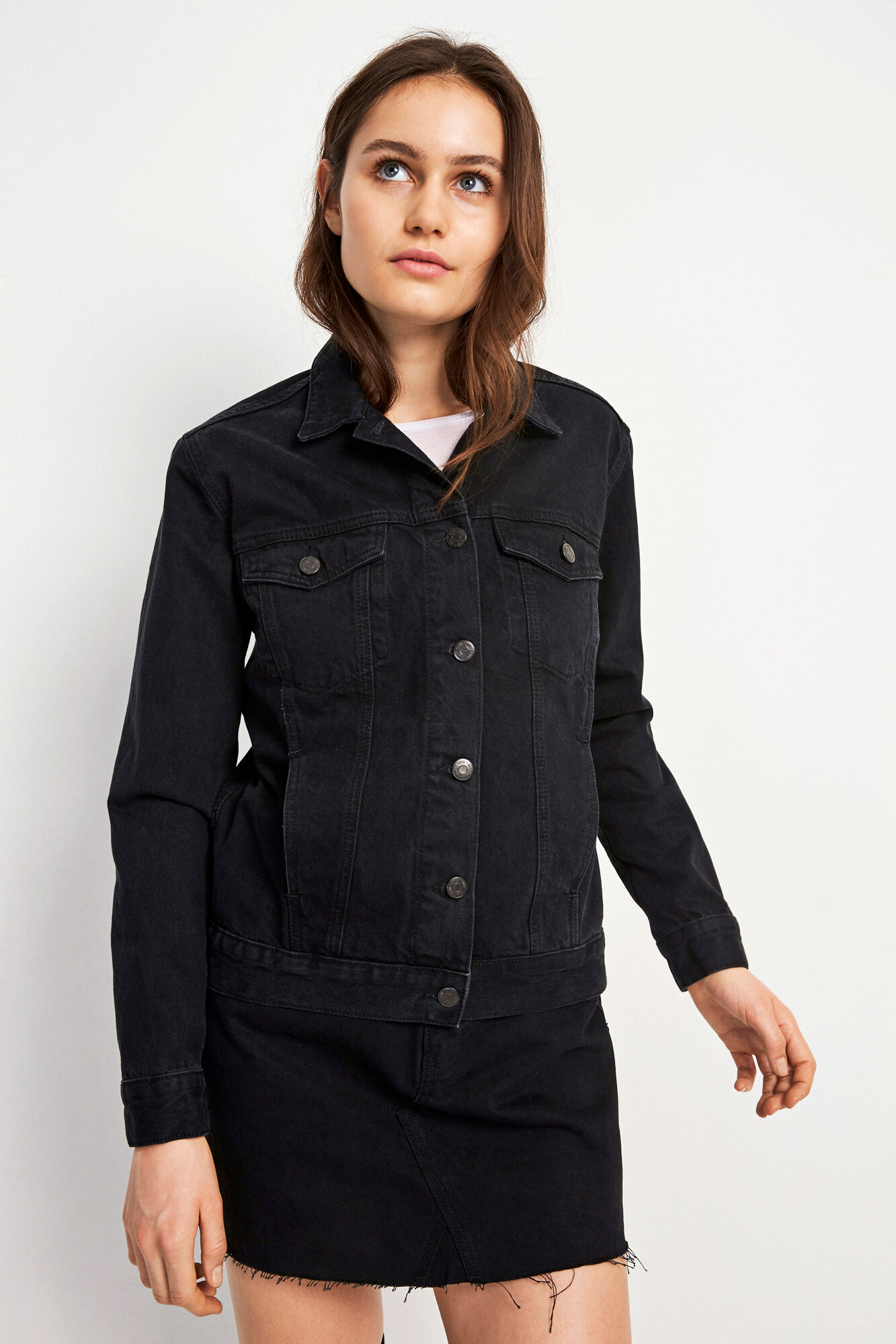 ENSETTLER DENIM JACKET 6447, WORN BLACK