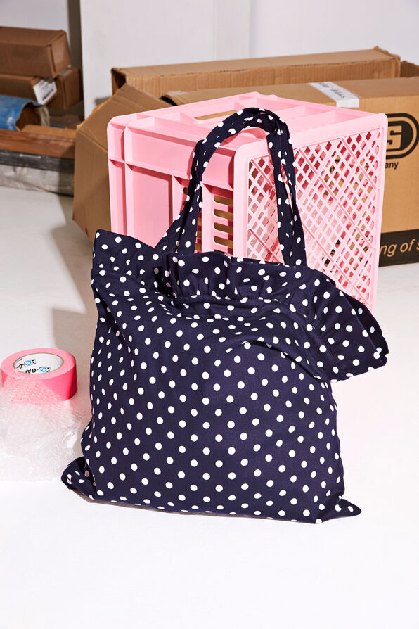 ENCRISP TOTE BAG AOP 6367, NAVY DOT BIG