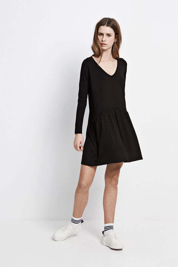 ENTOUR LS V-NECK DRESS 5890, BLACK