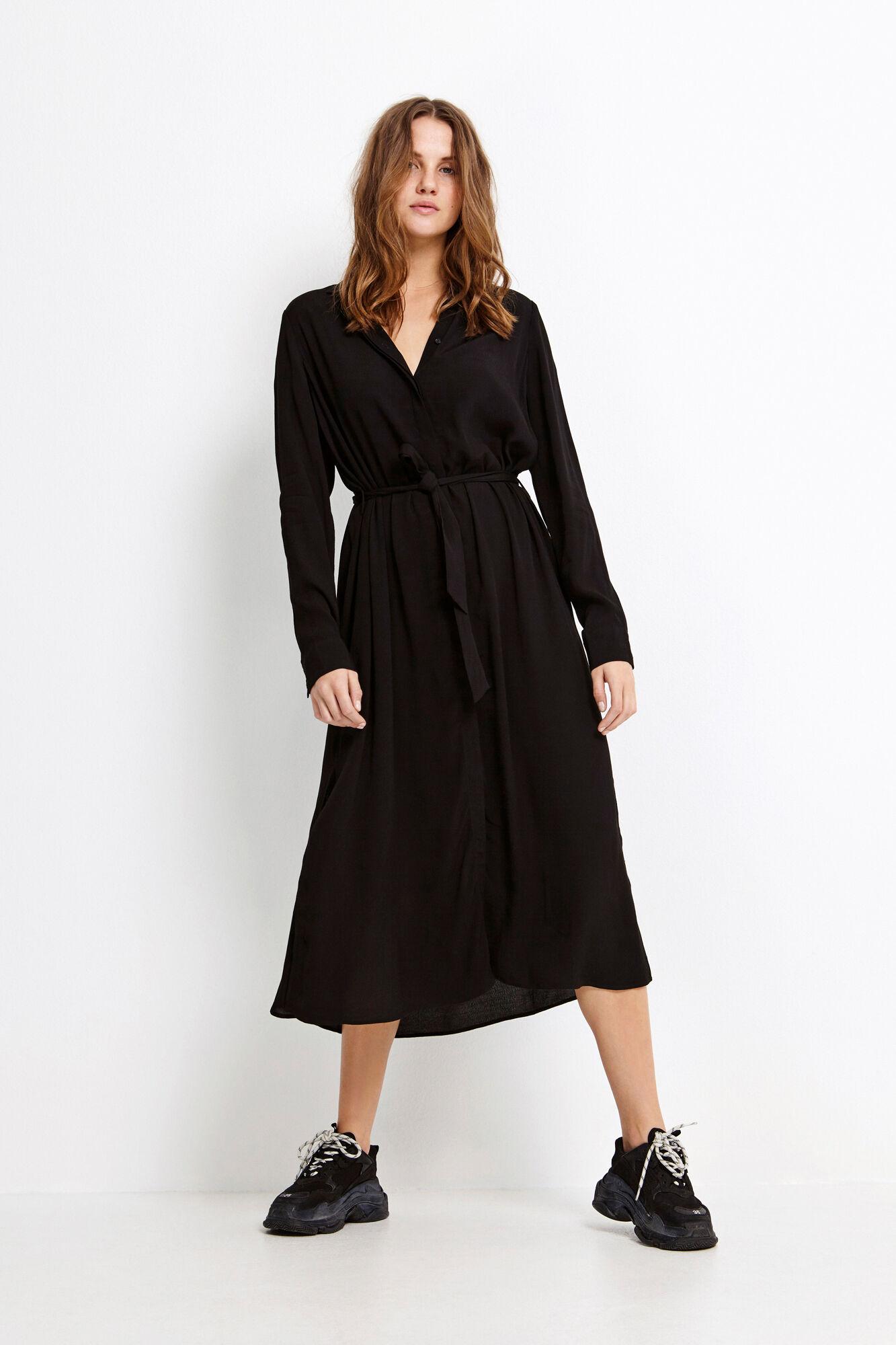 ENDATE LS DRESS 6626, BLACK