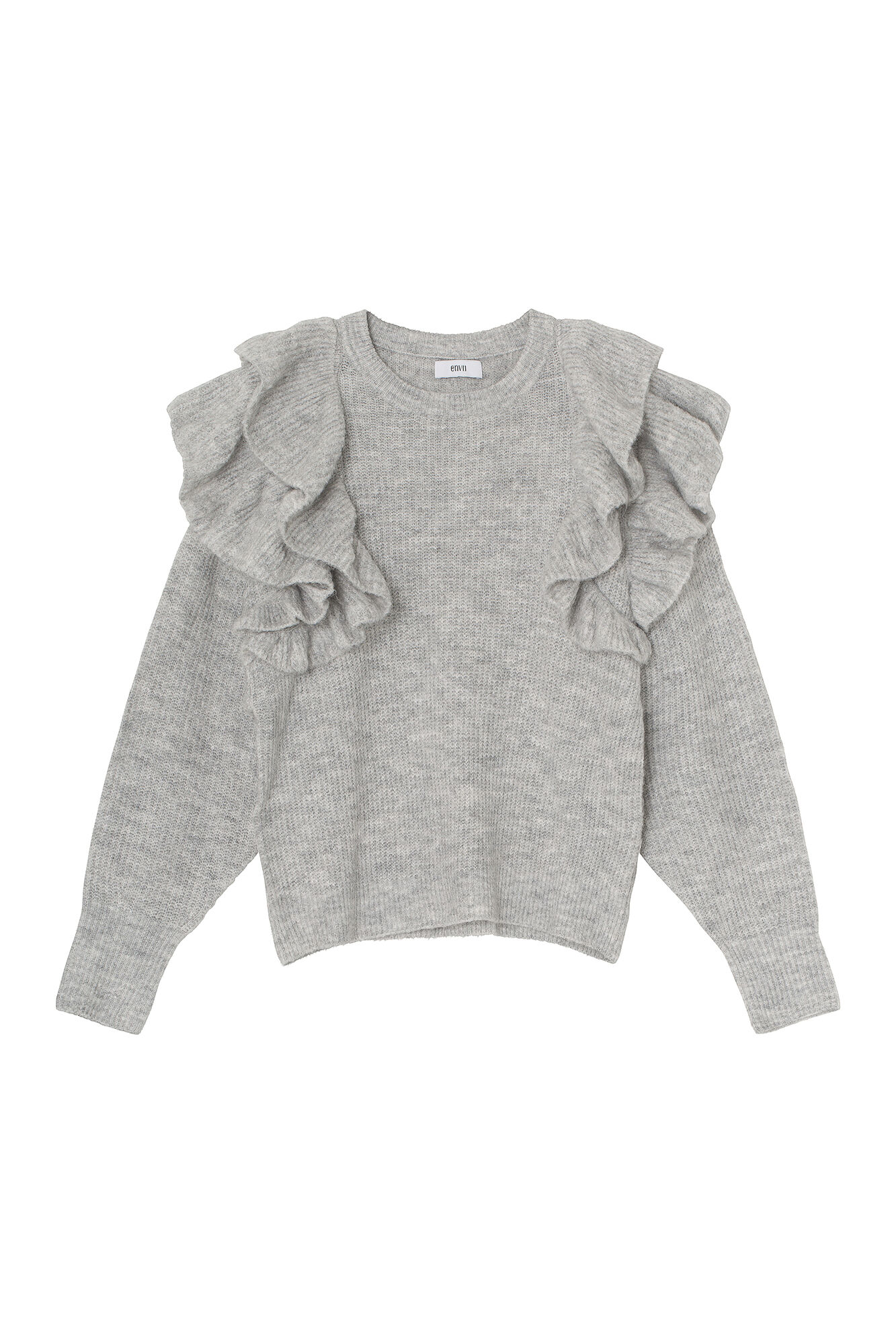 ENSPRING LS KNIT, LIGHT GREY MEL.