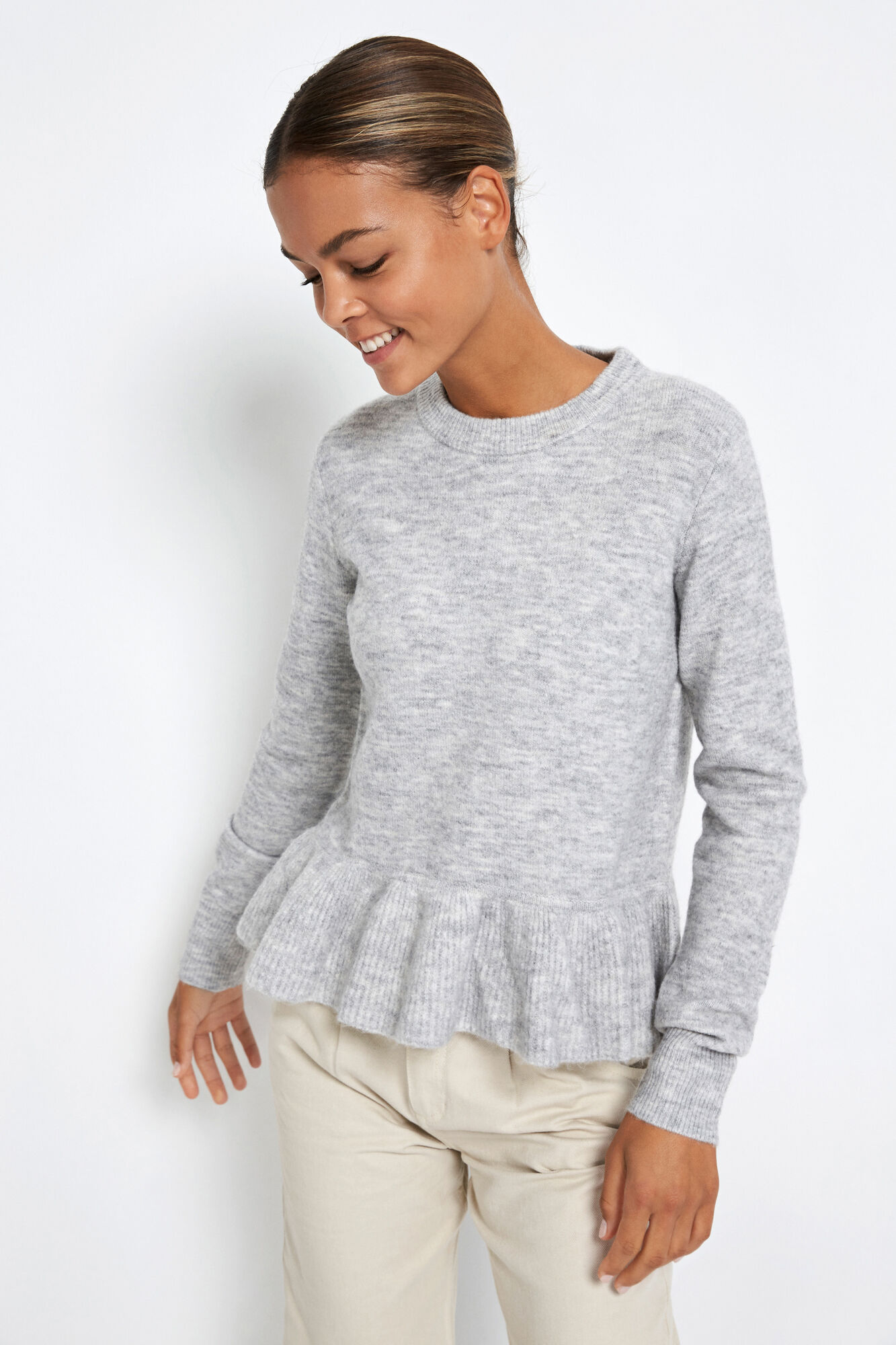 ENJUPITER LS KNIT 5236, LIGHT GREY MEL.