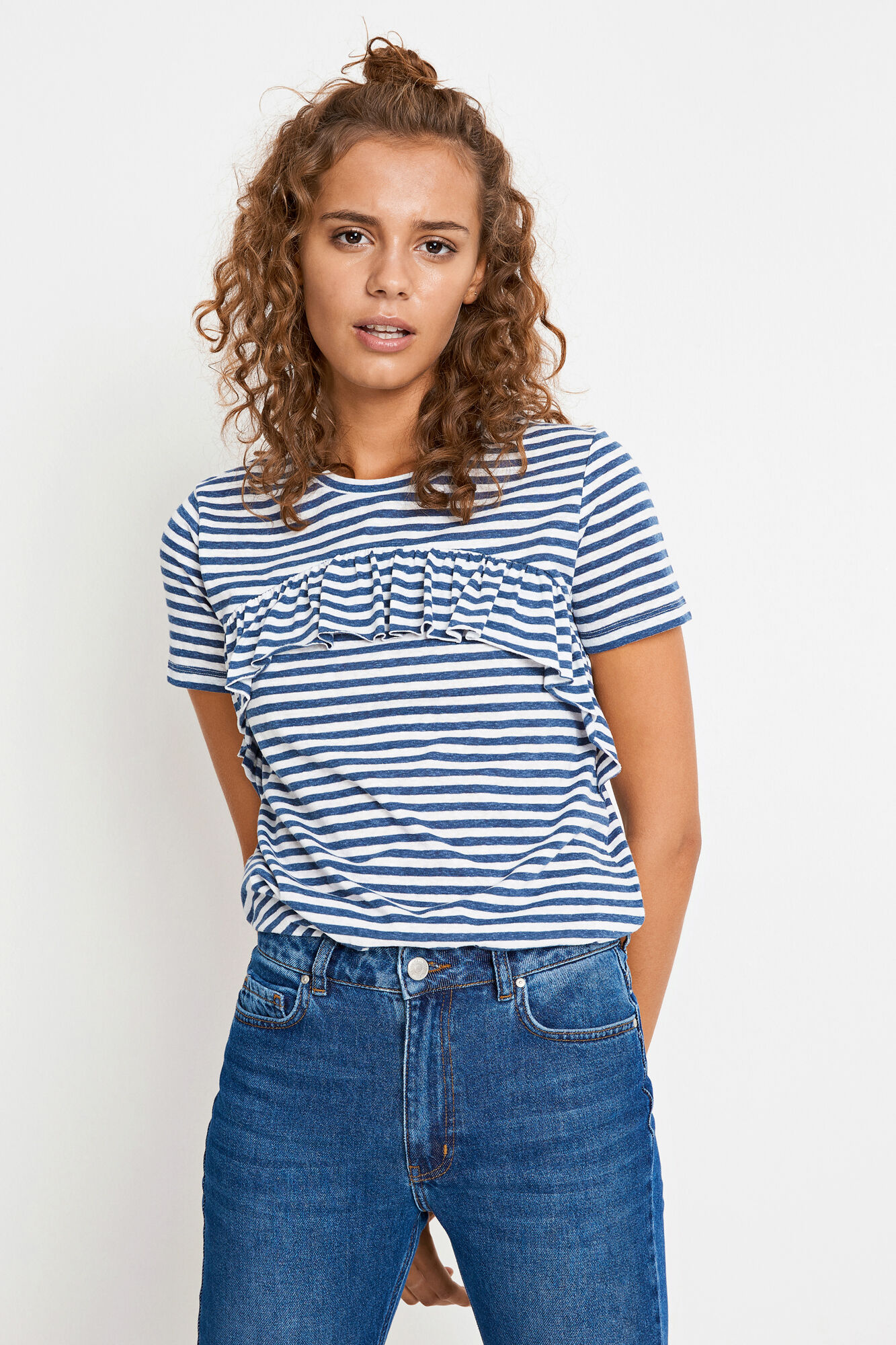 ENVARLA SS TEE STRIPE 5908, NAVY-WHITE STRIPE