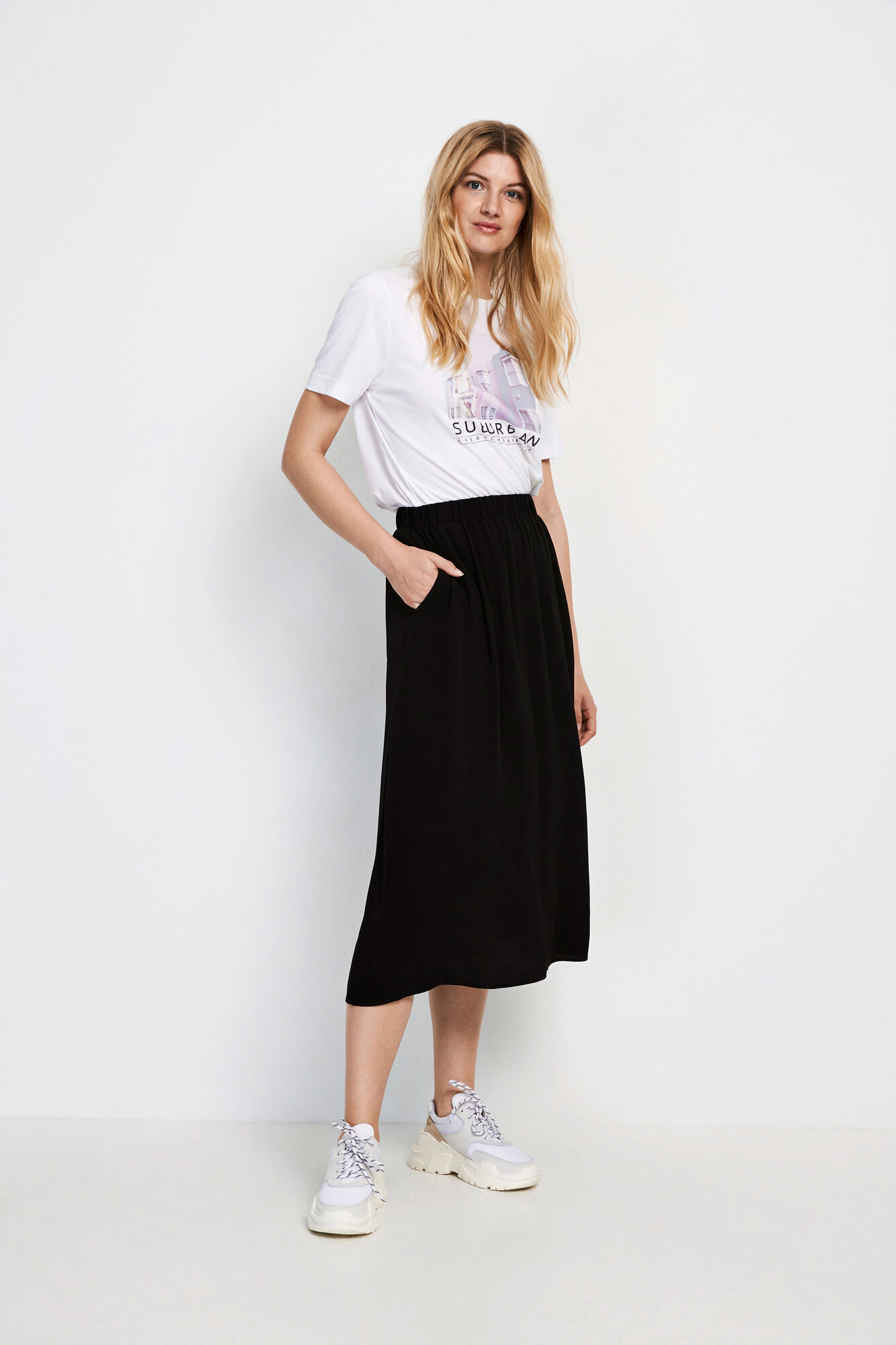ENJUSTICE LONG SKIRT 6257, BLACK