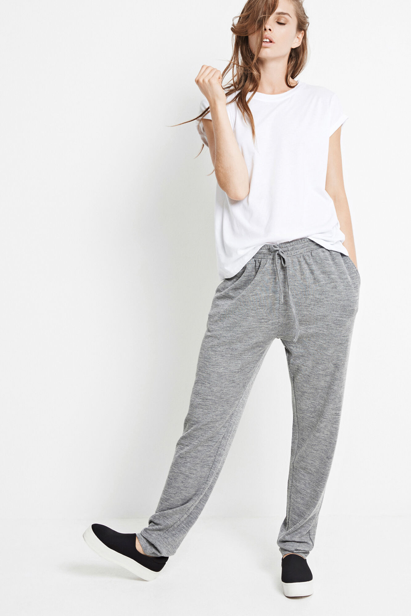 ENVILLY PANTS 5866, GREY MEL.