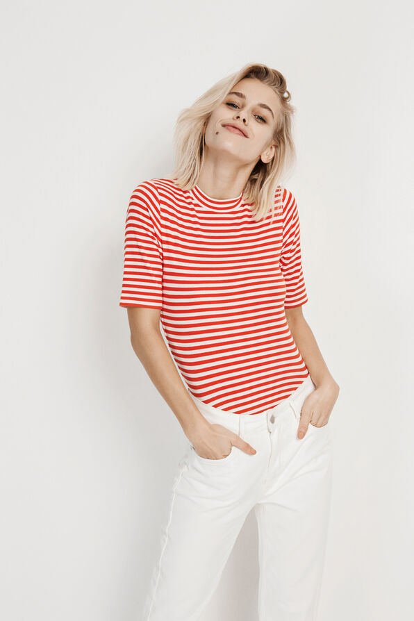 ENALLY SS T-NECK STRIPE 5892, CREAM-RED STRIPE