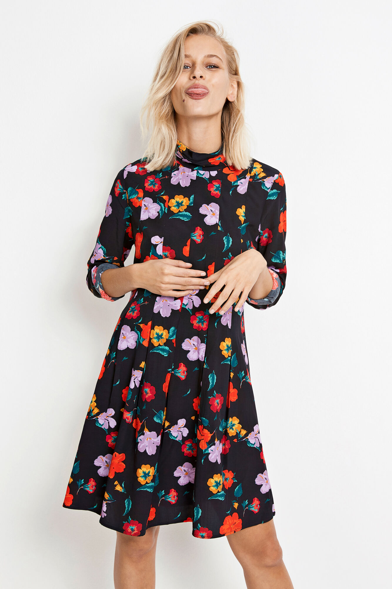 ENPOLAR LS DRESS AOP 6486, FLOWER FIELD AOP