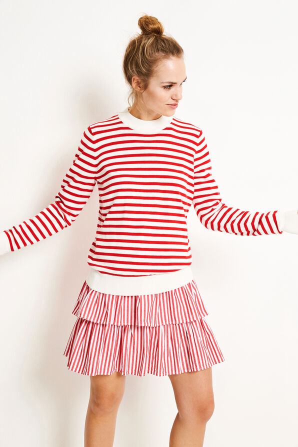 ENTRUFFLE LS KNIT STRIPE 5183, CREAM/CANDY RED