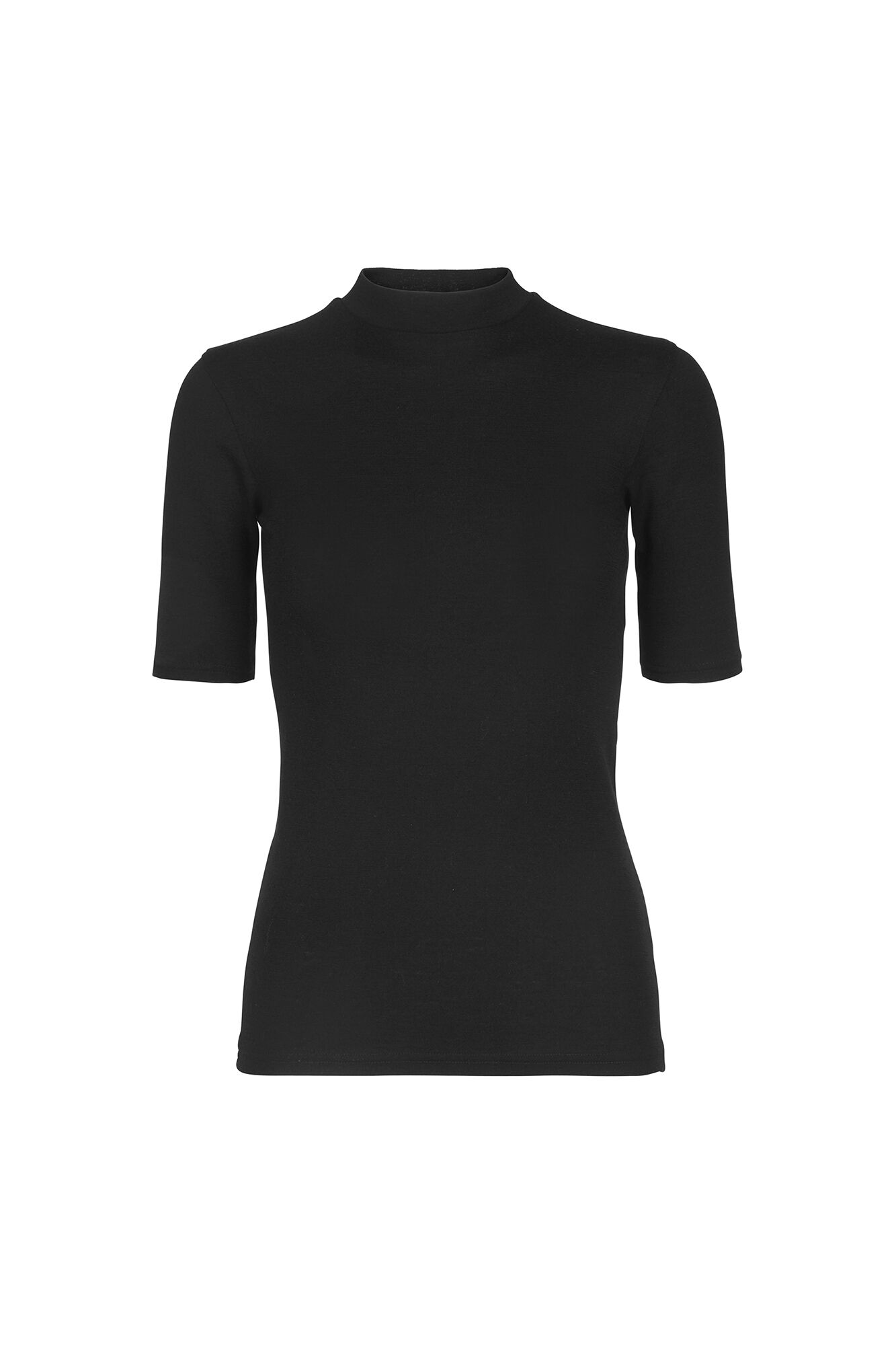 ENVILLY SS T-NECK TEE 5866, BLACK