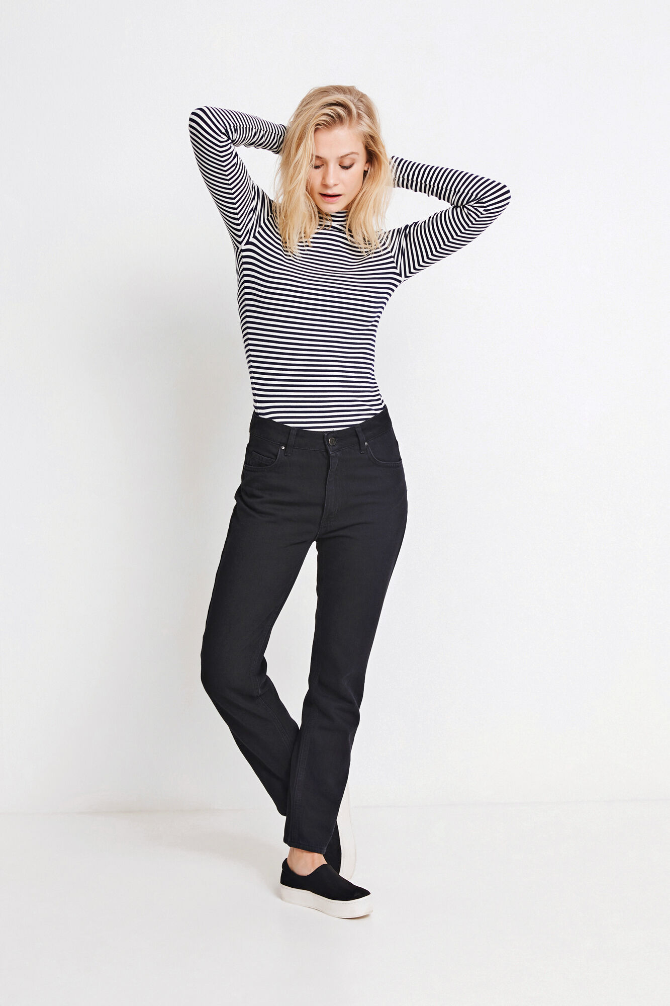 ENALLY LS T-NECK STRIPE 5892