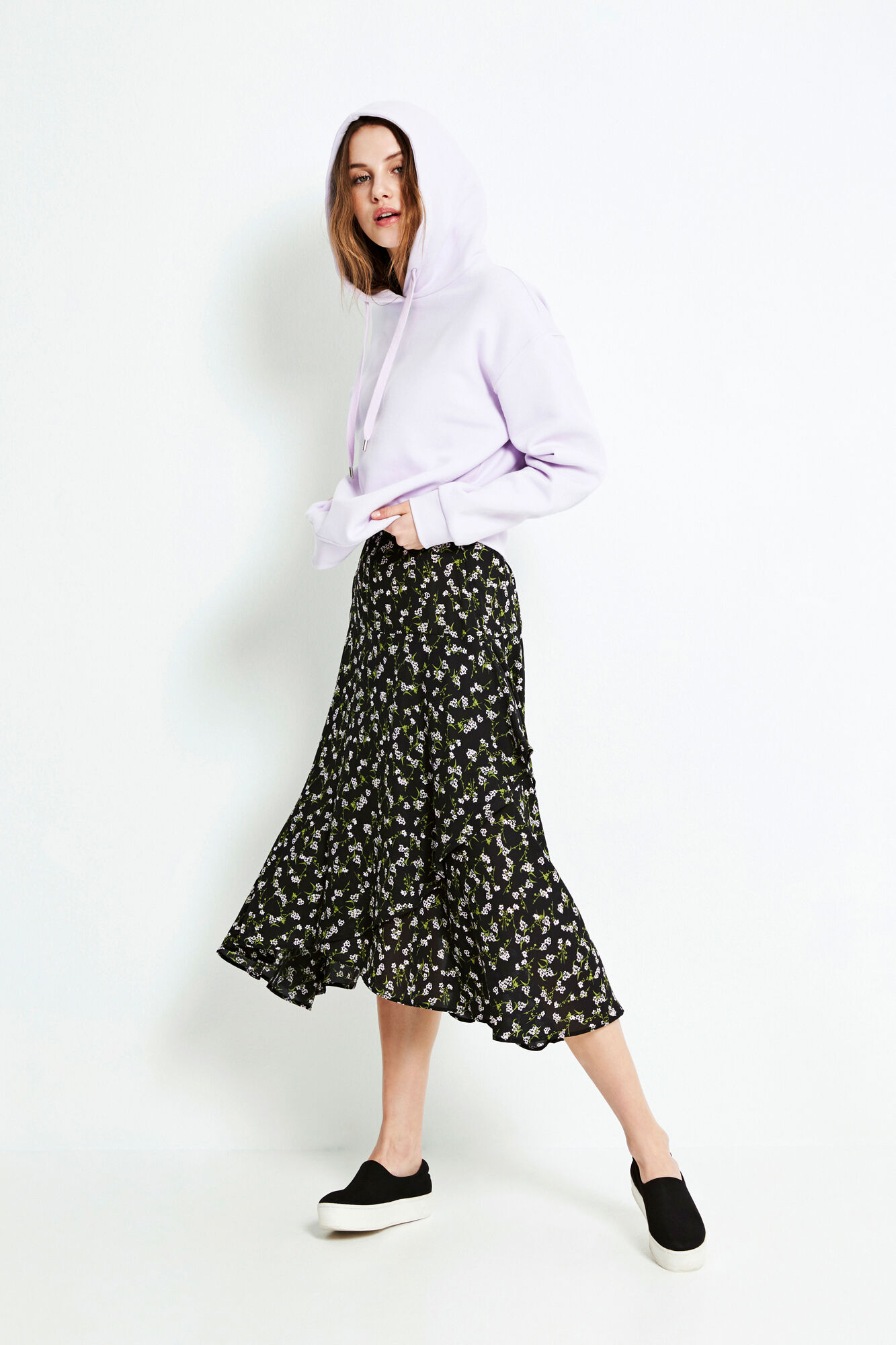 ENGUM SKIRT AOP 6465, LILAC BLOOM AOP