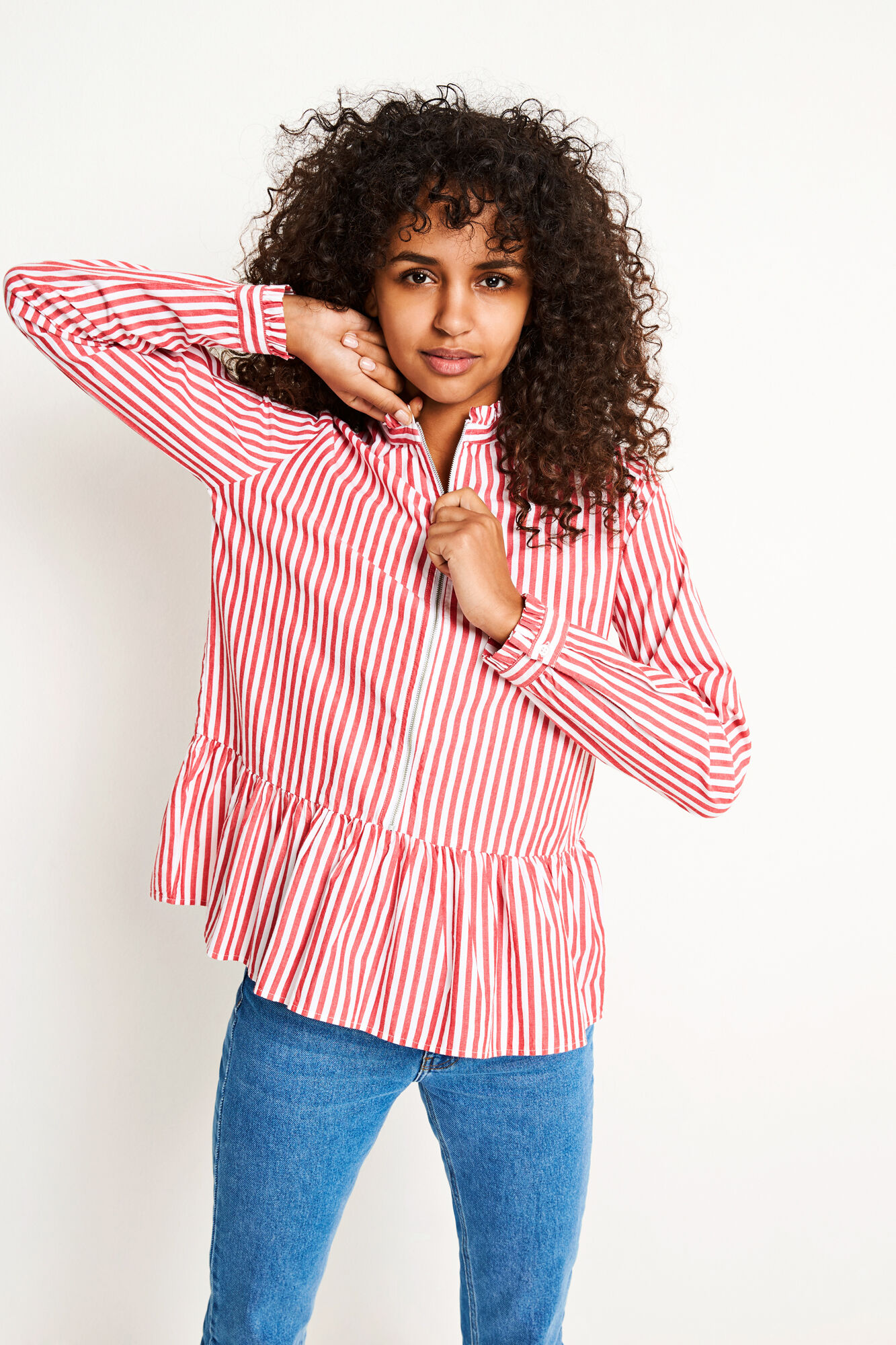 ENFEATHER LS SHIRT 6433, RED-WHITE ST