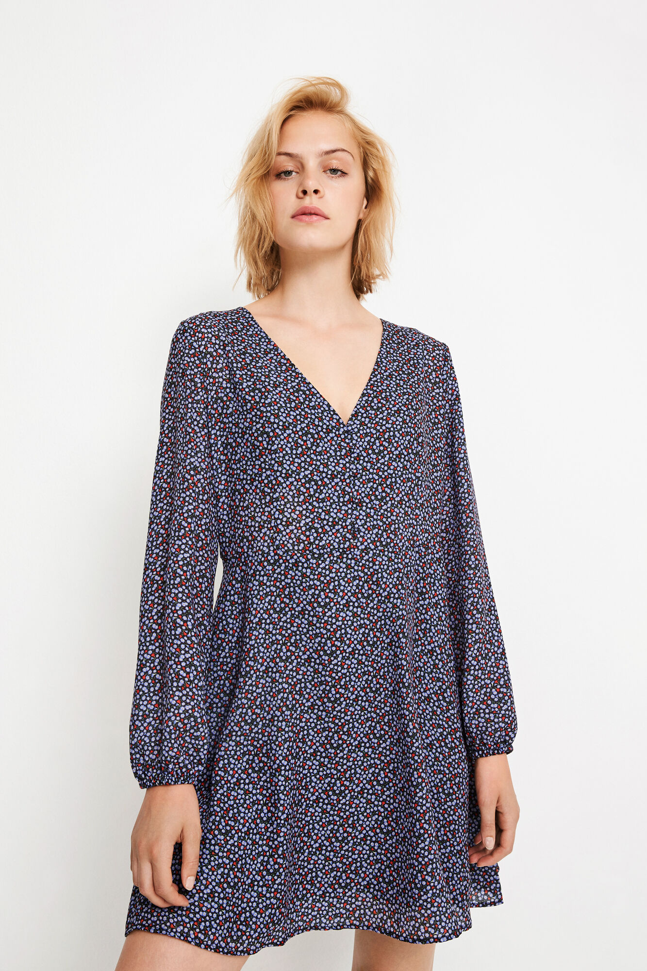 ENSWAN LS V-N DRESS AOP 6465