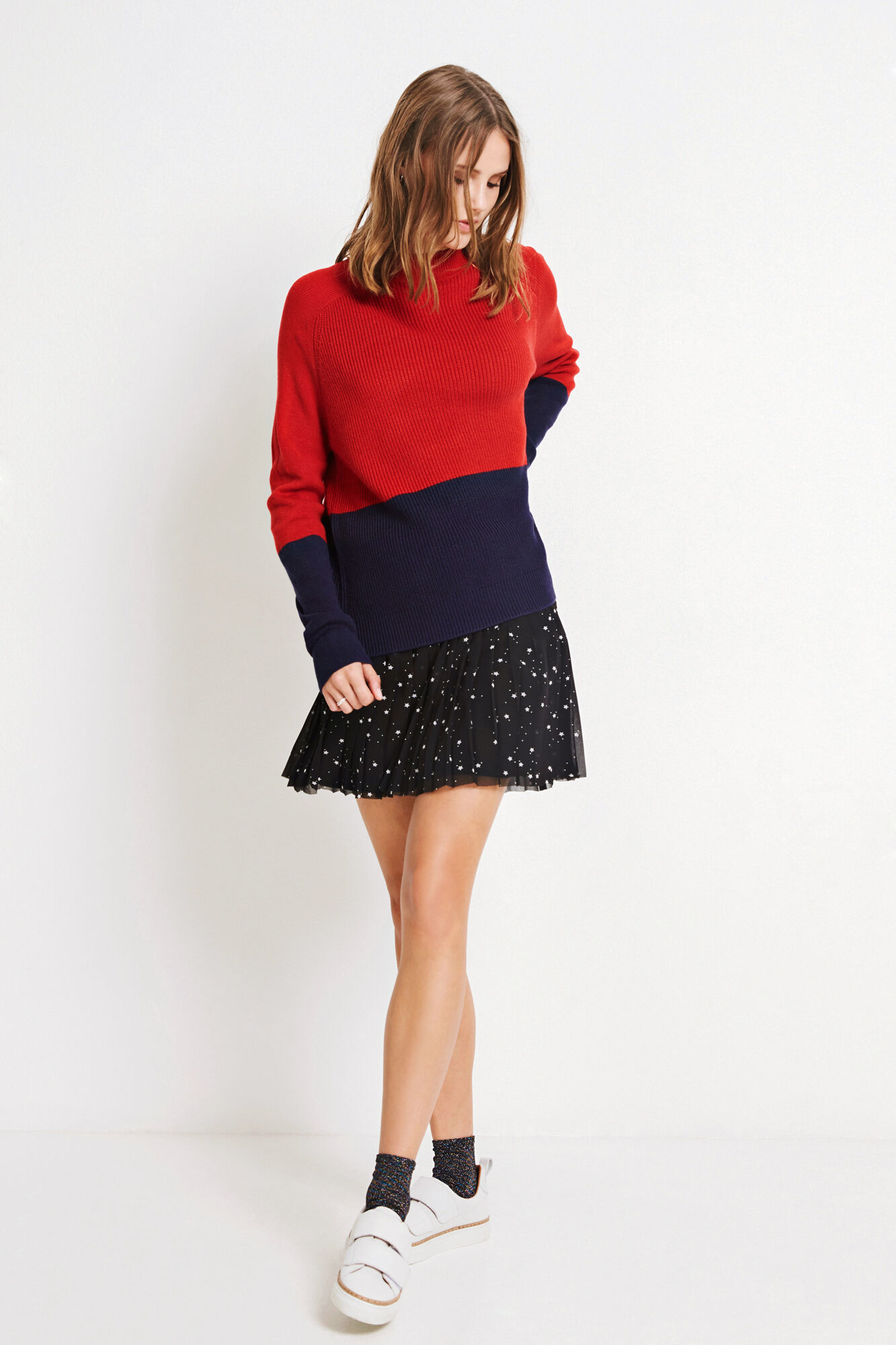 ENNICOLINE KNIT BLOCK 5531, POMPEIAN RED/PEACOAT