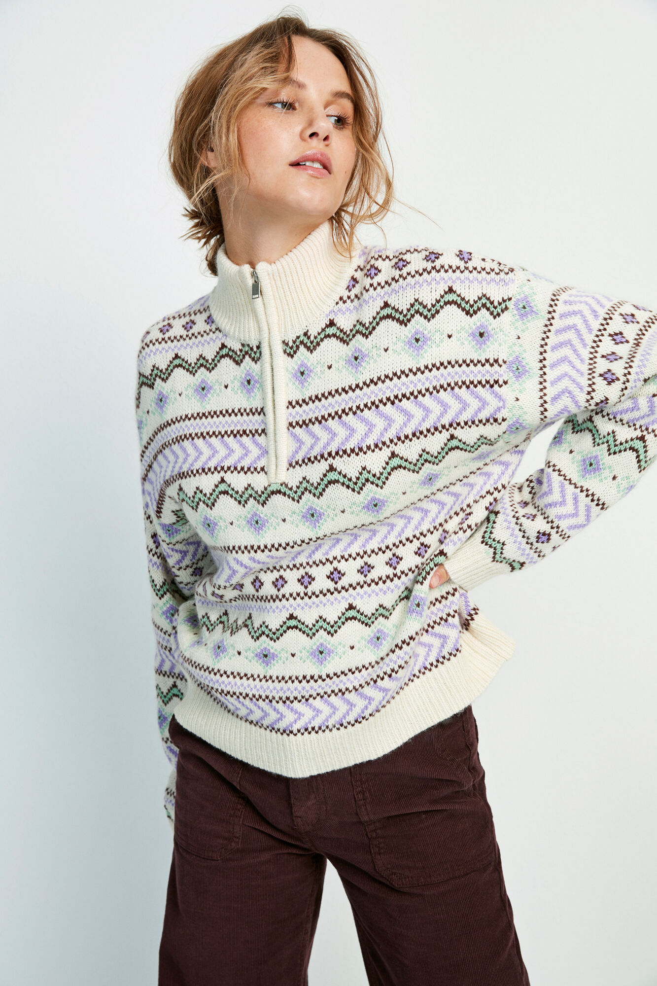 ENOLWEN LS ZIP KNIT 5218, NORTHERN MIX