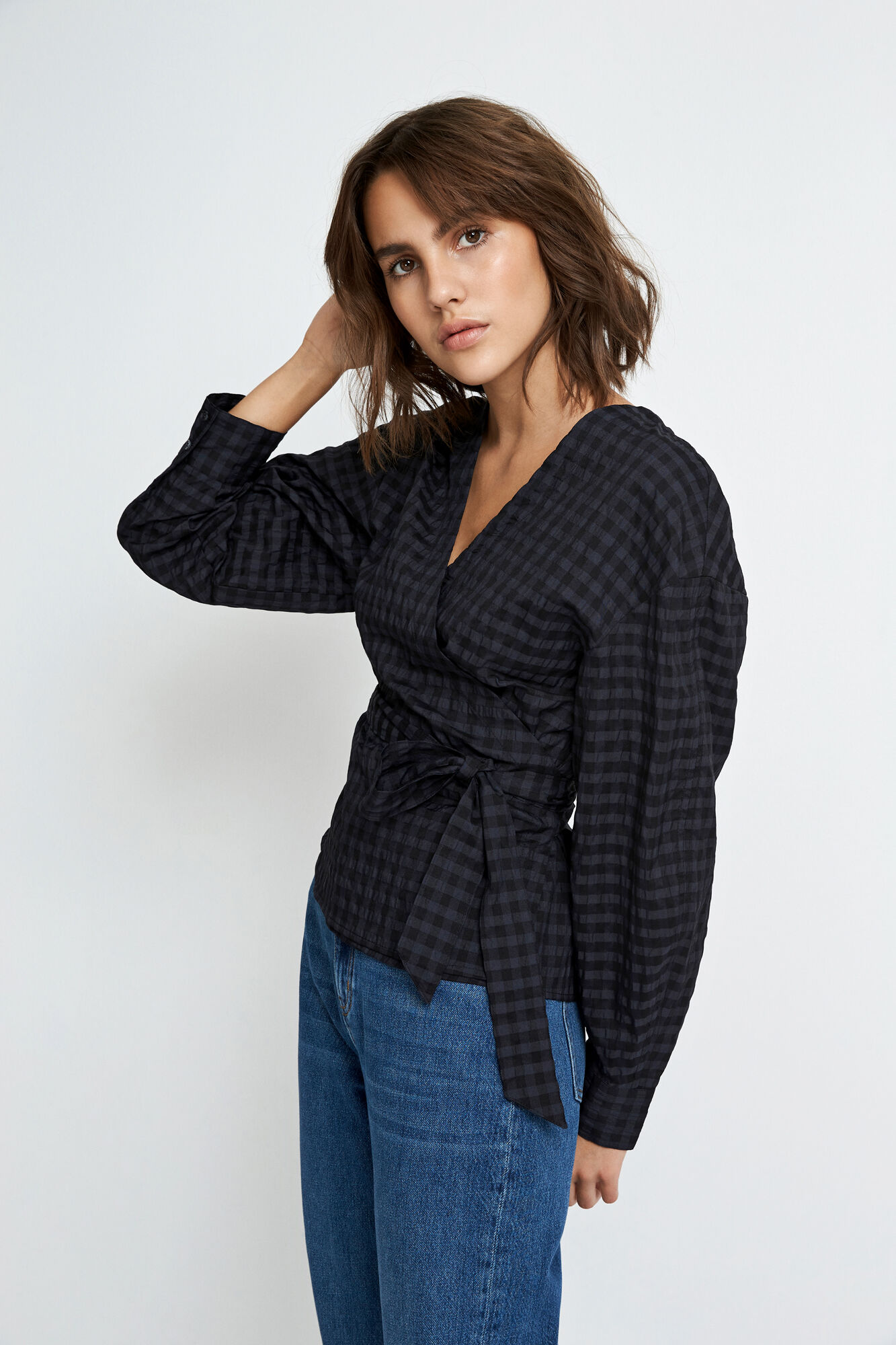 ENRYE LS TOP 6799, NAVY CHECK